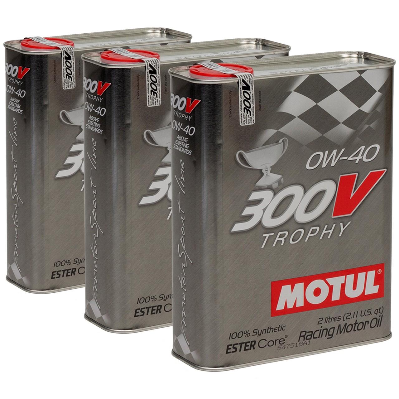 MOTUL 300V TROPHY RACING Motoröl Öl 0W40 100% Synthetic Ester Core - 6L 6 Liter