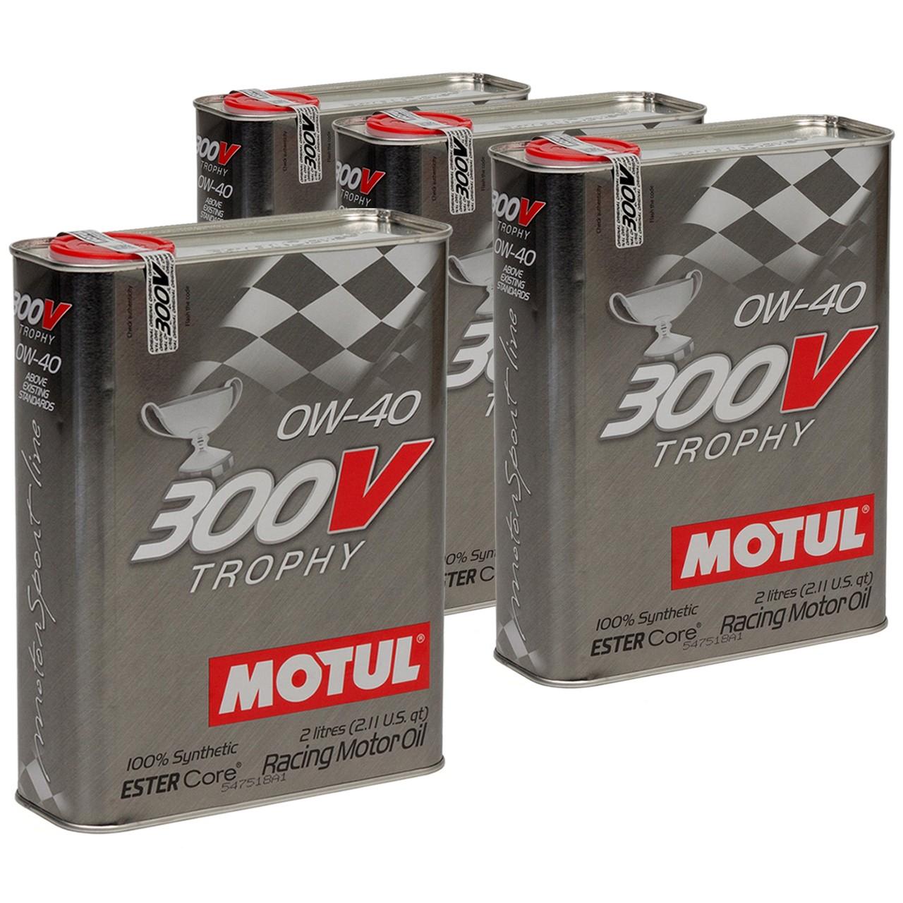 MOTUL 300V TROPHY RACING Motoröl Öl 0W40 100% Synthetic Ester Core - 8L 8 Liter