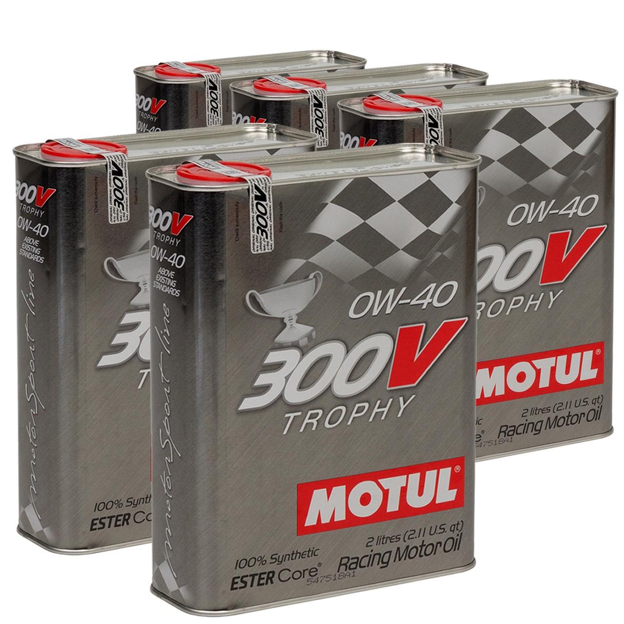 MOTUL 300V TROPHY RACING Motoröl Öl 0W40 100% Synthetic Ester Core 10L 10 Liter