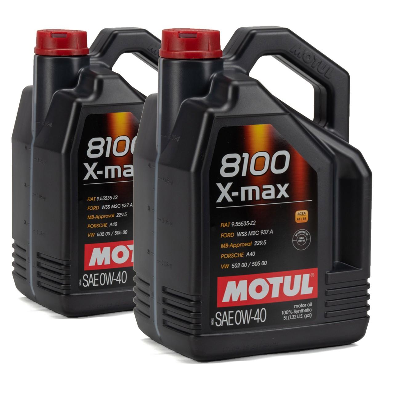 MOTUL 8100 X-max Motoröl Öl 0W40 FORD WSS M2C 937A VW 502.00/505.00 - 10 Liter