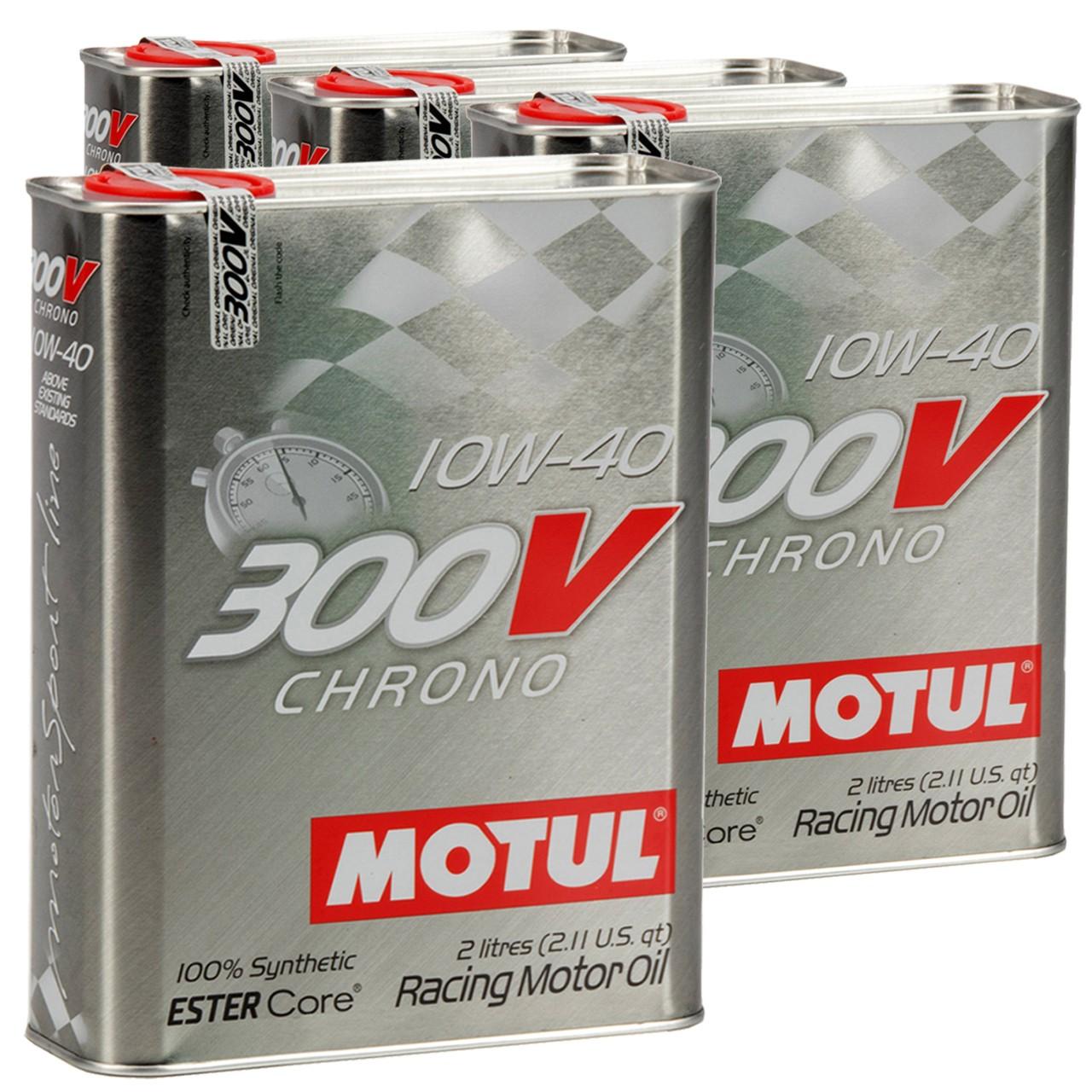 MOTUL 300V CHRONO Motoröl Öl 10W40 100% Synthetic Ester Core - 8L 8 Liter