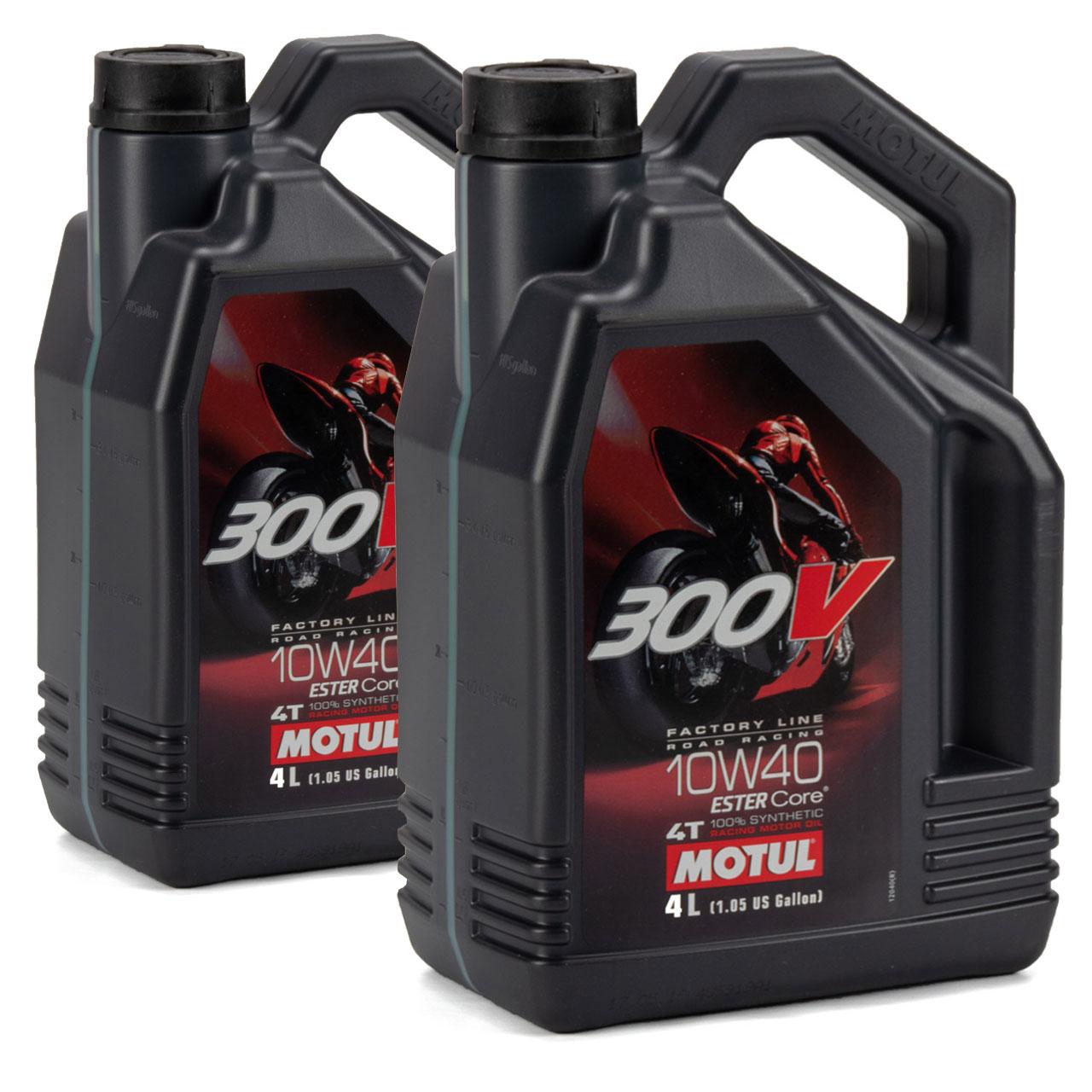 MOTUL 300 V 4T 4-TAKT Factory Line Ester Core Motoröl ÖL 10W40 Motorrad 8 Liter