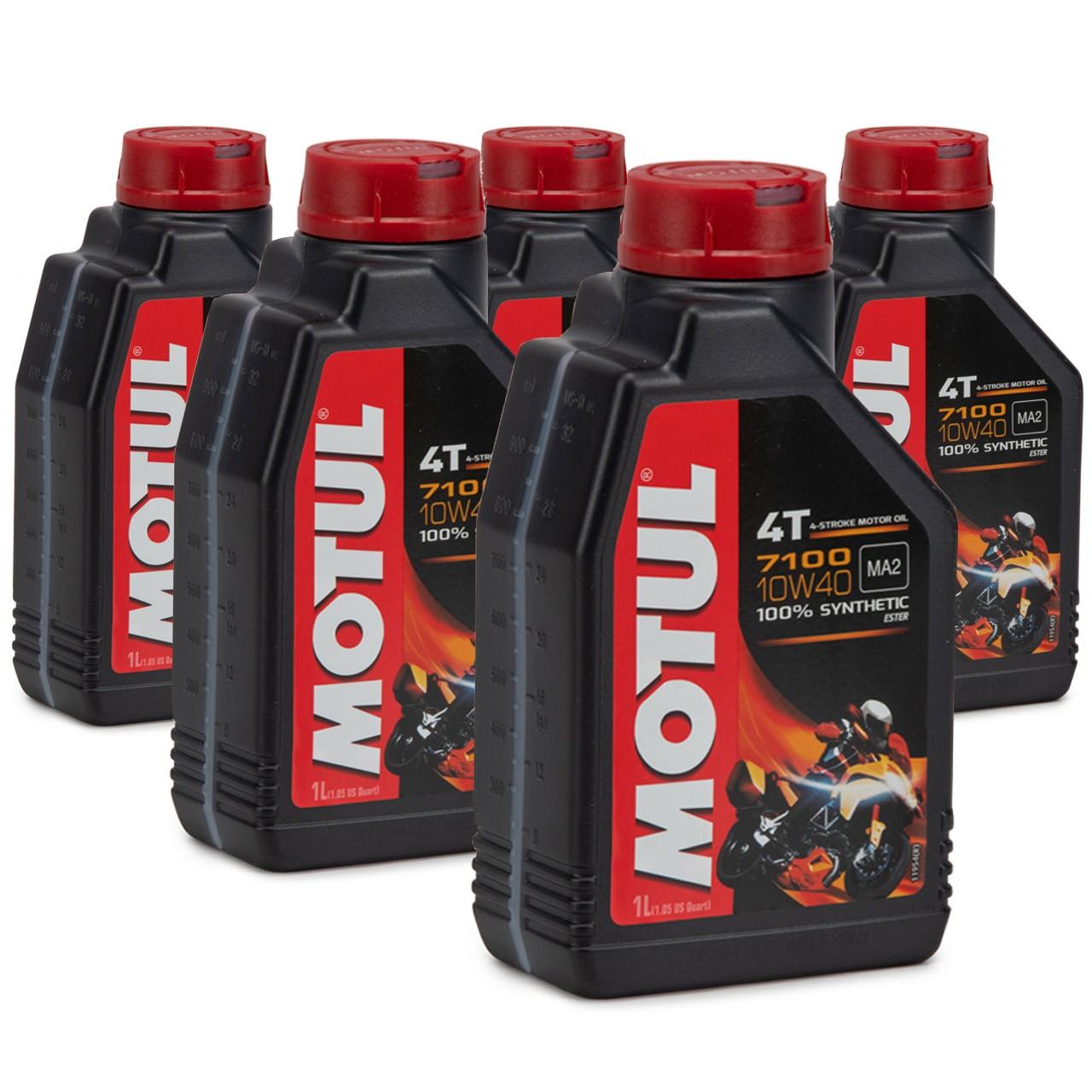 MOTUL 7100 4T 4-TAKT Motoröl ÖL 10W40 Motorrad API SL SM SN MA2 - 5L 5 Liter
