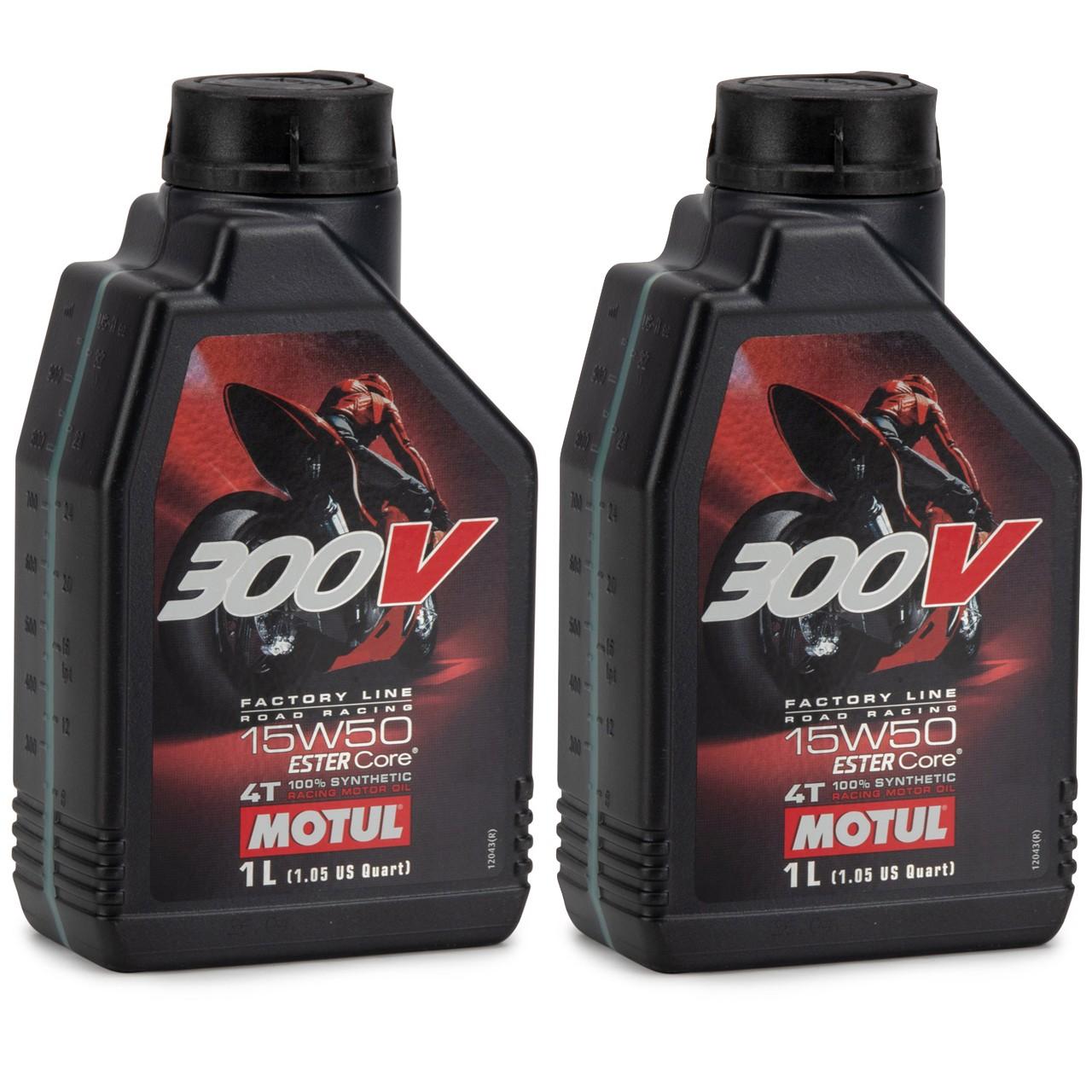 MOTUL 300 V 4T 4-TAKT Factory Line Ester Core Motoröl ÖL 15W50 Motorrad 2 Liter
