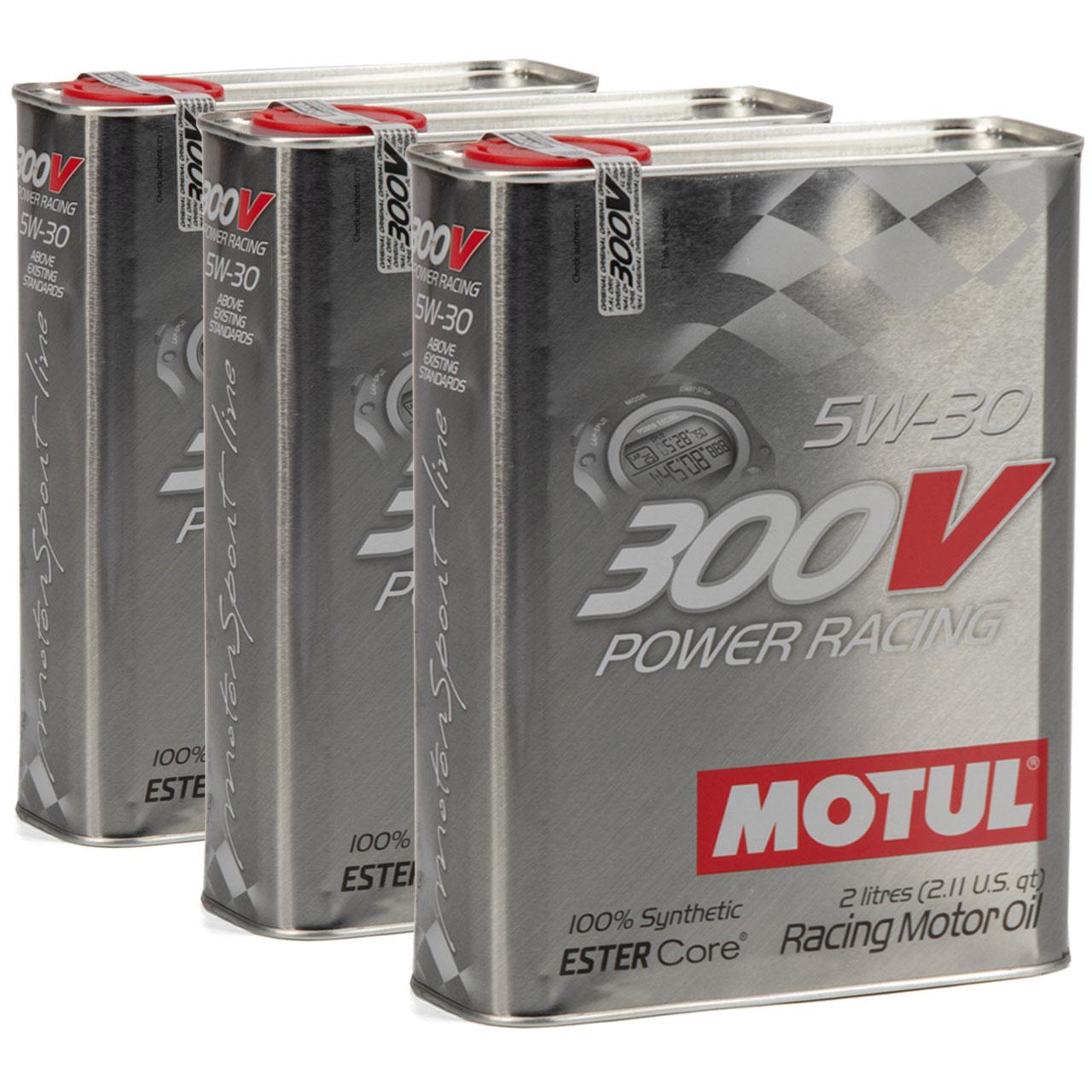 MOTUL 300V POWER RACING Motoröl Öl 5W30 100% Synthetic Ester Core - 6L 6 Liter