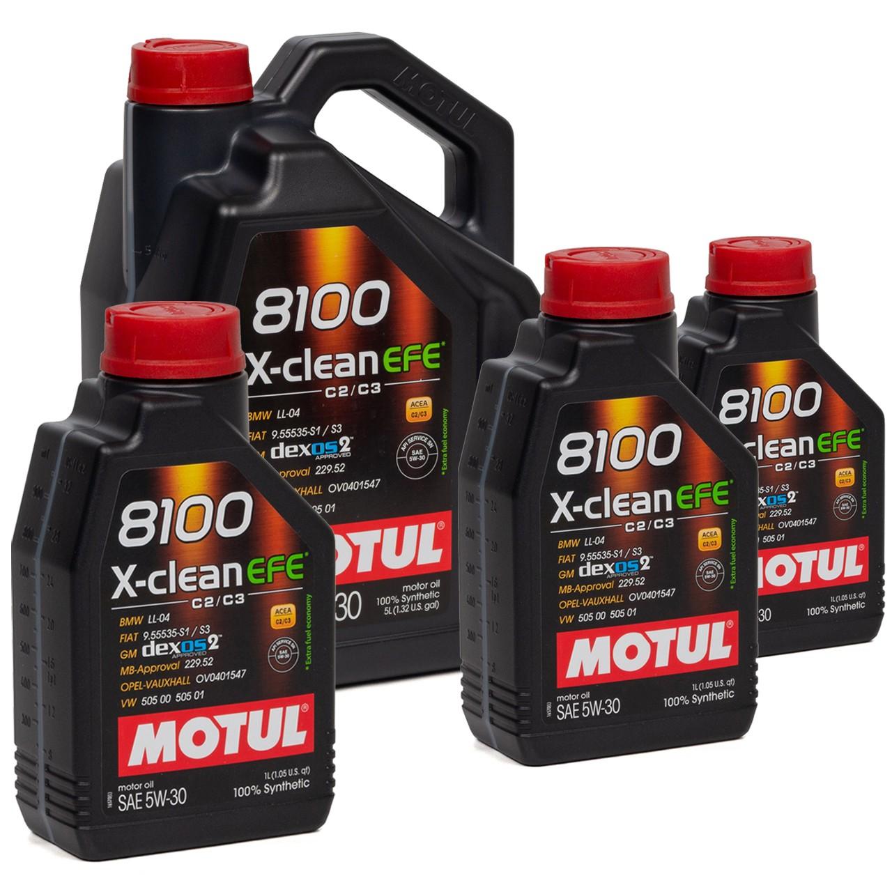 MOTUL 8100 X-Clean EFE Motoröl Öl 5W30 dexos2 VW 505.00/505.01 - 8L 8 Liter