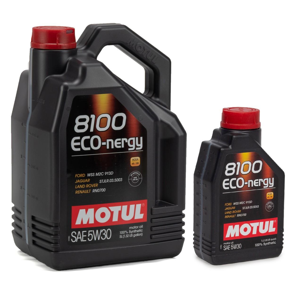 MOTUL 8100 ECO-nergy Motoröl Öl 5W30 FORD WSS M2C 913D RENAULT RN0700 - 6 Liter