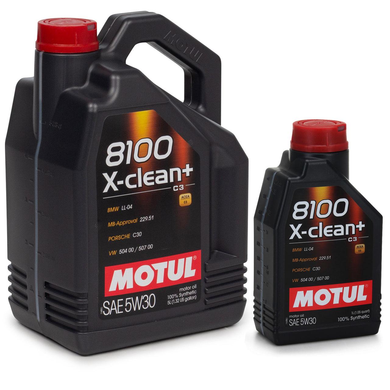 MOTUL 8100 X-clean+ C3 Motoröl Öl 5W30 BMW LL04 MB 229.51 VW 504/507.00 6 Liter
