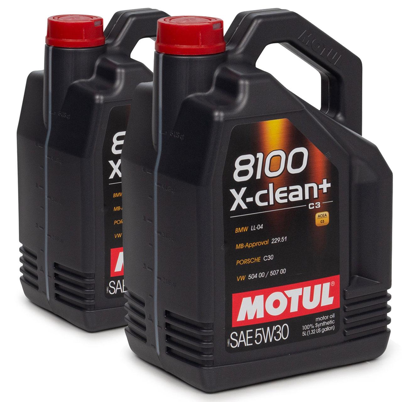 MOTUL 8100 X-clean+ C3 Motoröl Öl 5W30 BMW LL04 MB 229.51 VW 504/507.00 10 Liter