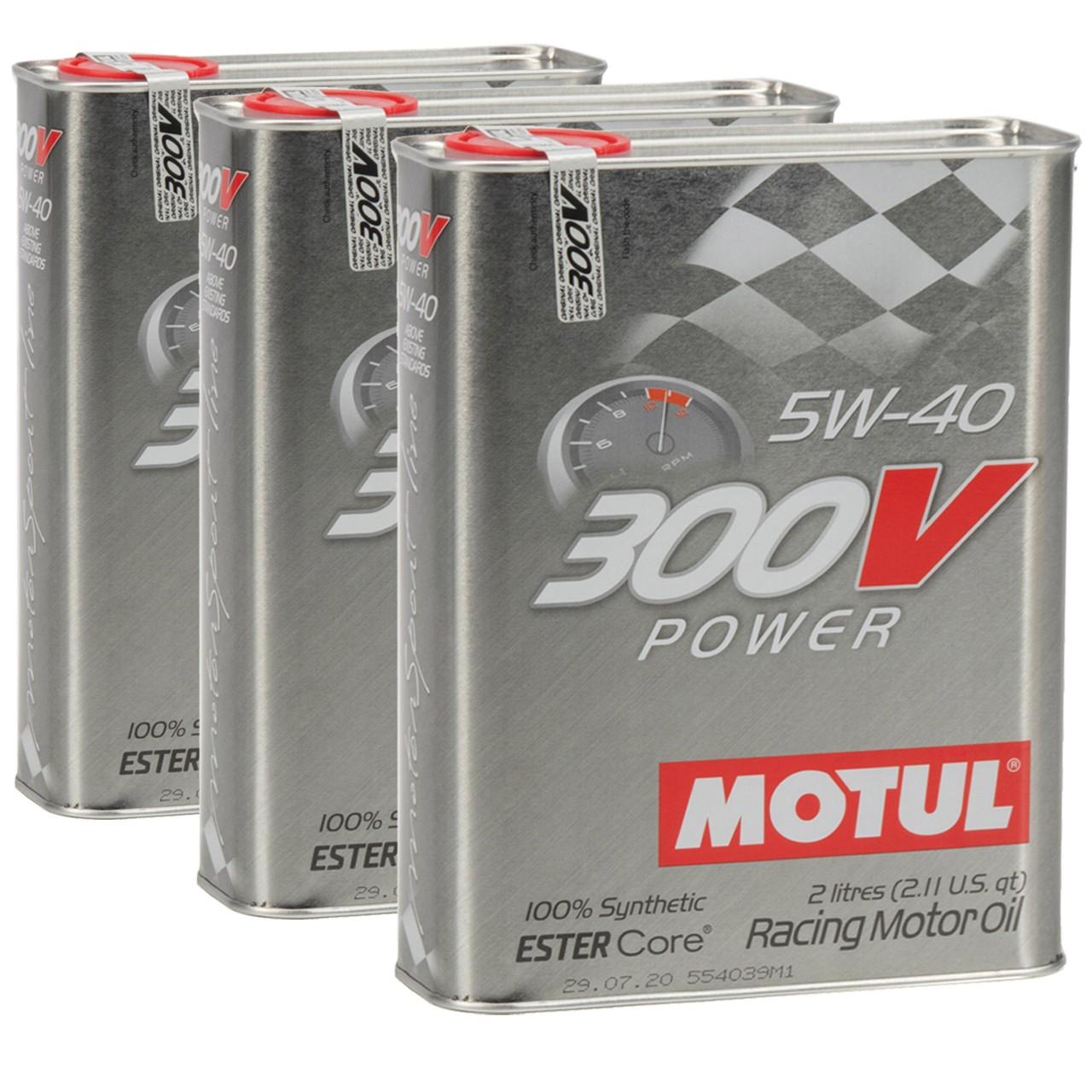 MOTUL 300V POWER RACING Motoröl Öl 5W40 100% Synthetic Ester Core - 6L 6 Liter