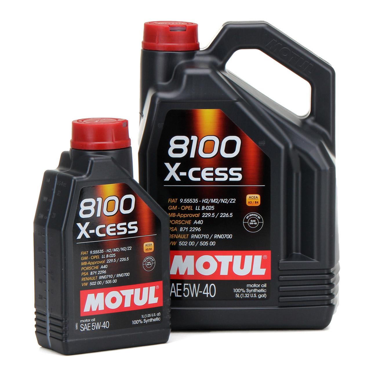 MOTUL 8100 X-cess Motoröl Öl 5W40 MB 229.5/226.5 VW 502.00/505.00 - 6L 6 Liter