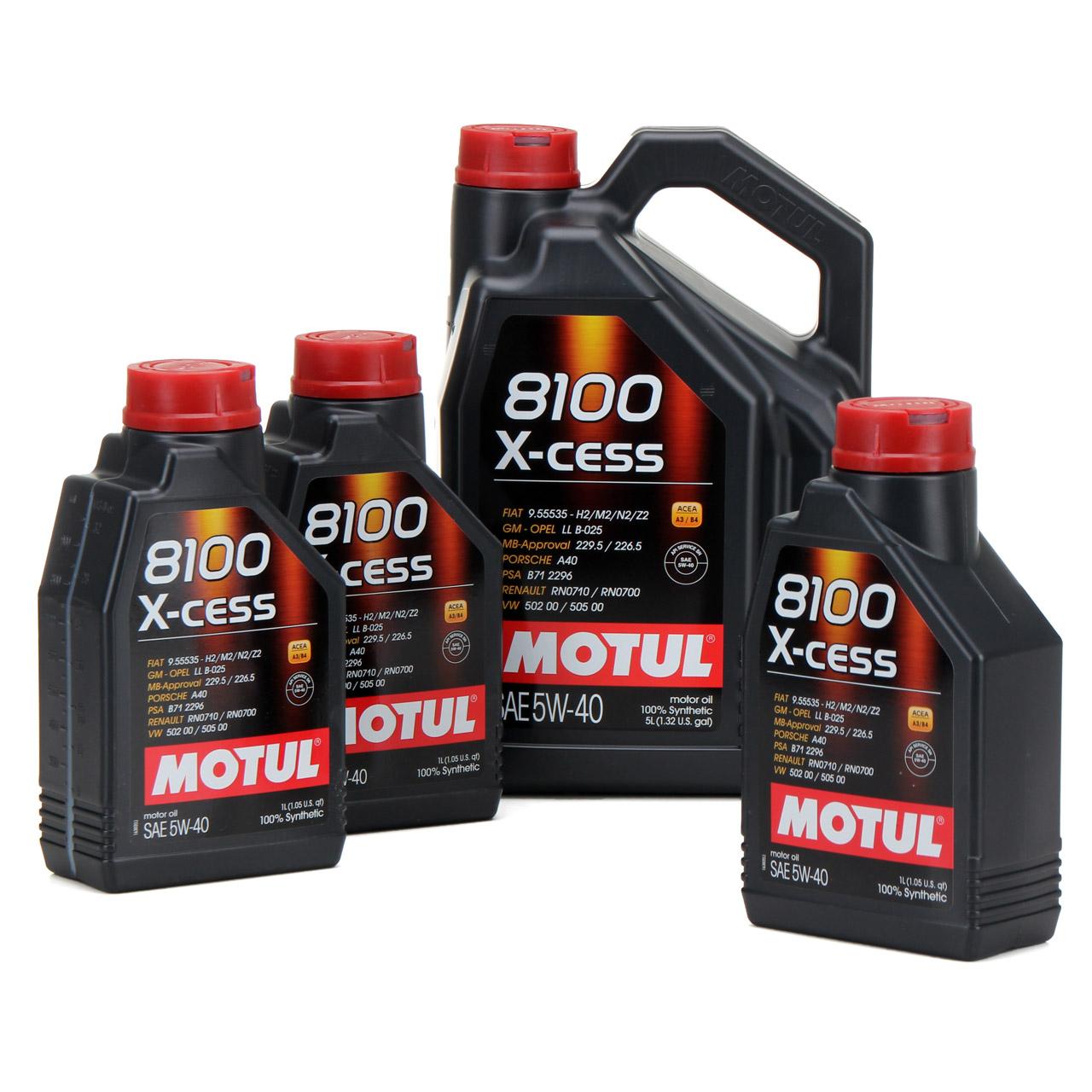 MOTUL 8100 X-cess Motoröl Öl 5W40 MB 229.5/226.5 VW 502.00/505.00 - 8L 8 Liter