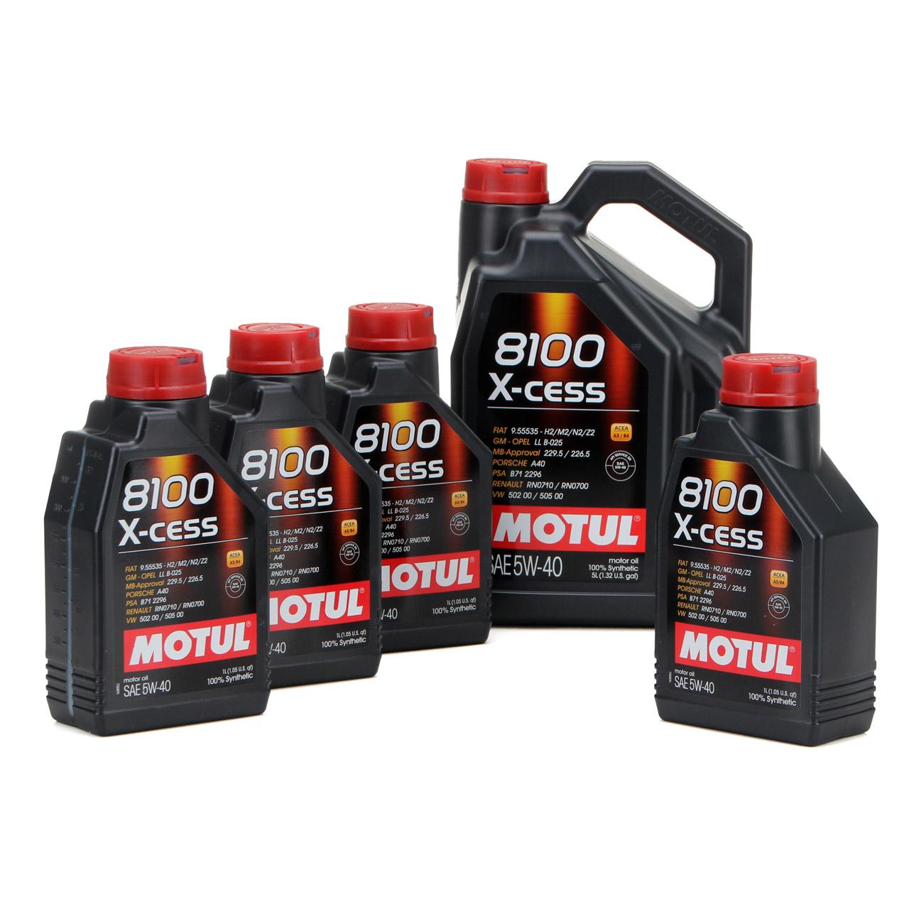 MOTUL 8100 X-cess Motoröl Öl 5W40 MB 229.5/226.5 VW 502.00/505.00 - 9L 9 Liter