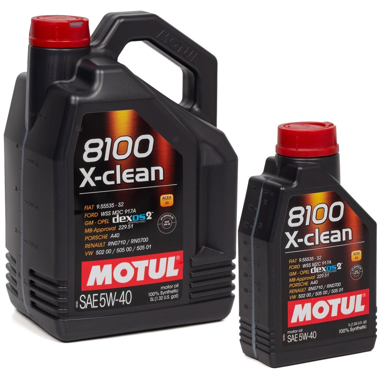 MOTUL 8100 X-Clean Motoröl Öl 5W40 dexos2 VW 502.00/505.00/505.01 - 6L 6 Liter