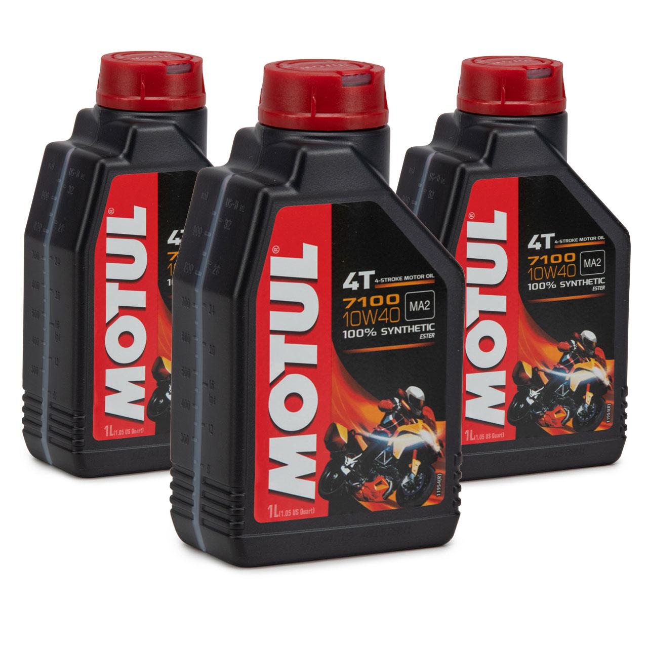 MOTUL 7100 4T 4-TAKT Motoröl ÖL 10W40 Motorrad API SL SM SN MA2 - 3L 3 Liter