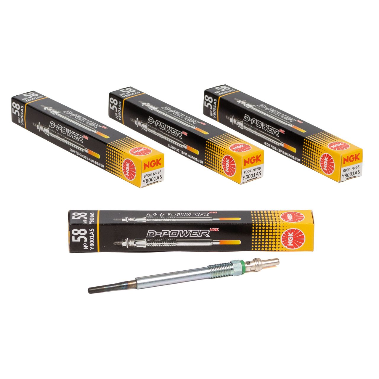4x NGK 8904 Y8001AS D-POWER 58 Glühkerze CITROEN FORD PEUGEOT 1.5-2.0 DIESEL