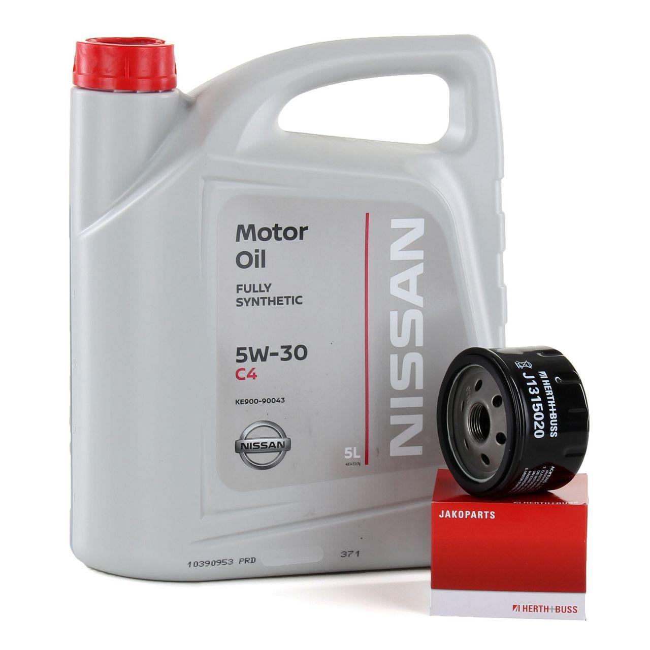 Original NISSAN Motoröl 5W30 DPF ACEA C4 DIESEL 5L+HERTH+BUSS Ölfilter J1315020
