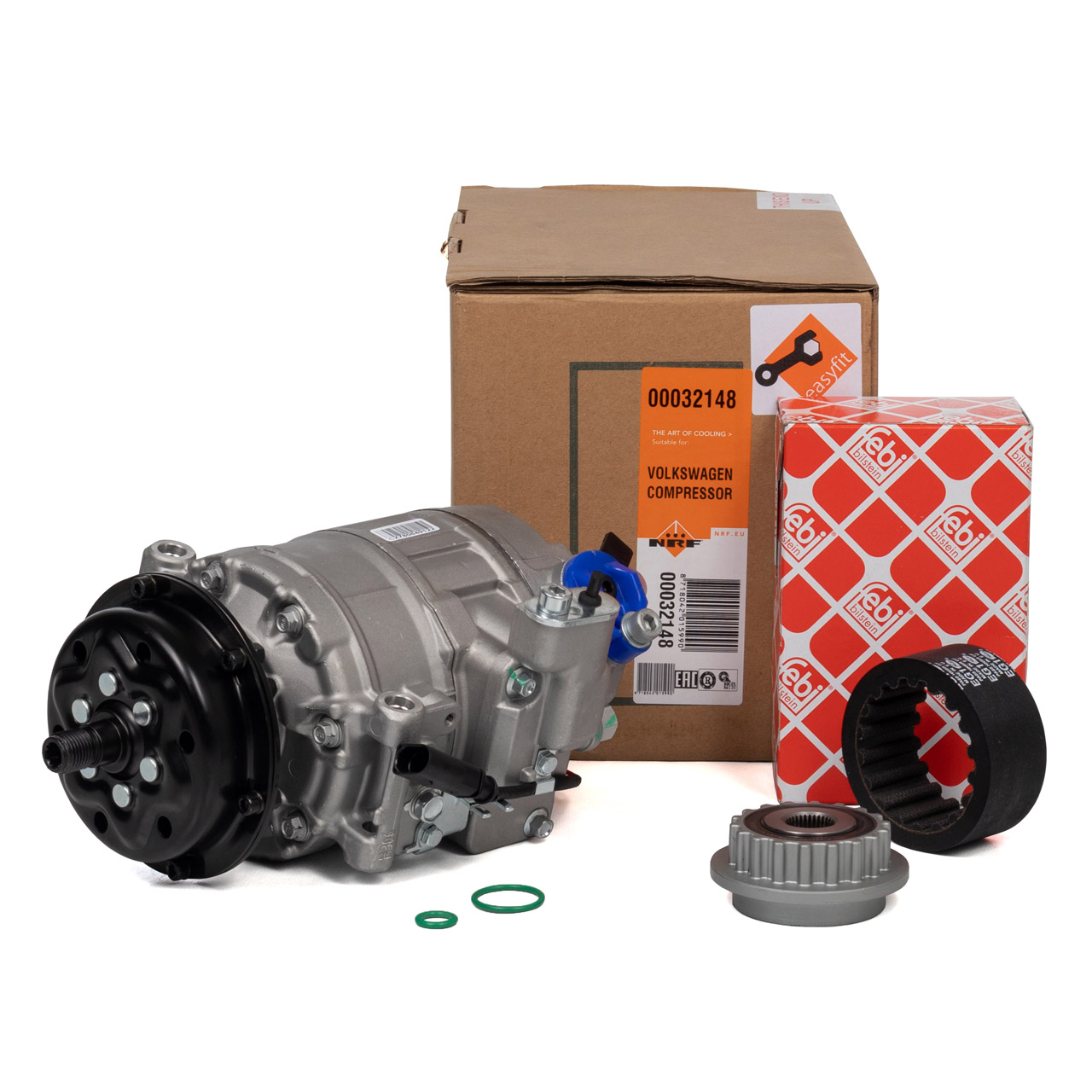 NRF Kompressor Klimaanlage + FEBI Riemenscheibe VW Phaeton T5 Touareg 7L 2.5 TDI