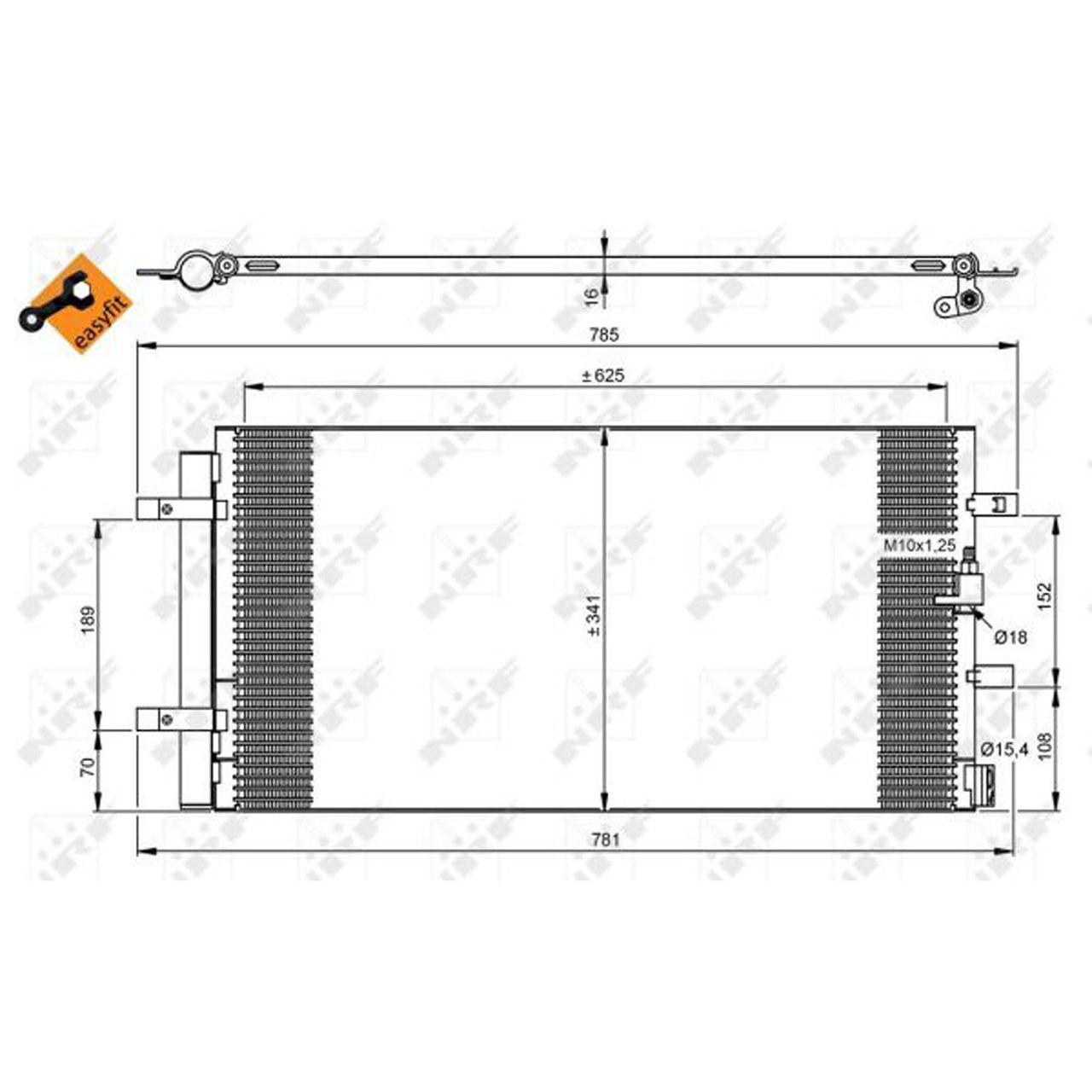 NRF 350046 EASY FIT Kondensator AUDI A4 B8 A5 8T A6 C7 Q5 8R 1.8-3.2 2.0 TDI PORSCHE Macan