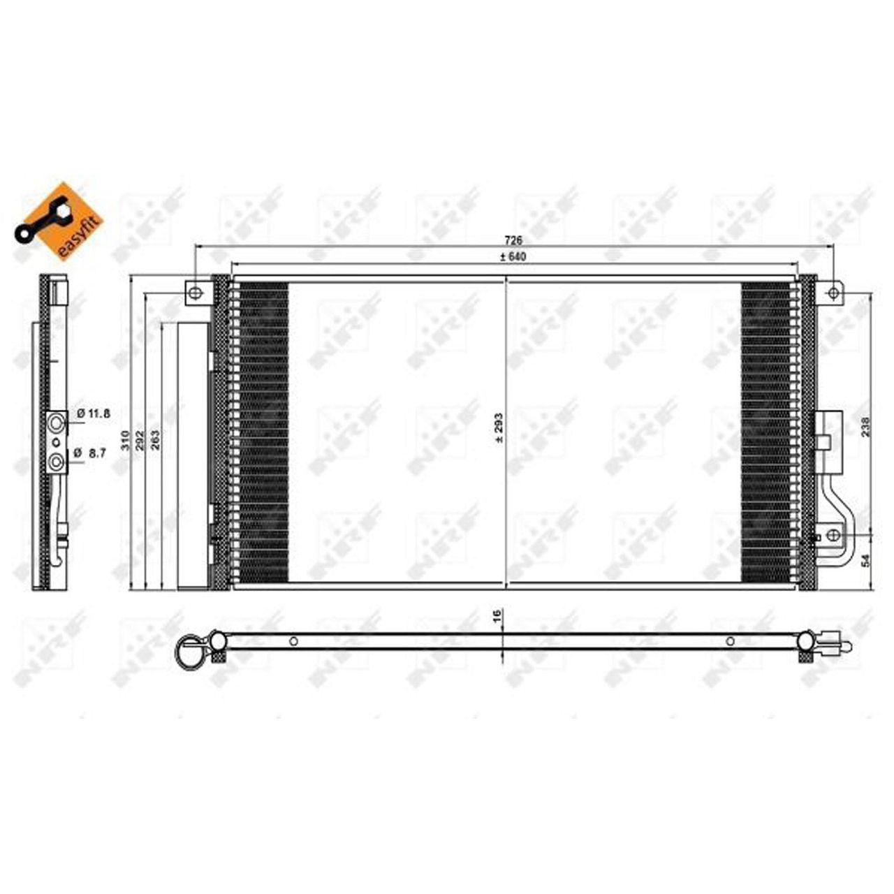 NRF 350227 EASY FIT Kondensator OPEL Mokka / X J13 1.4 1.6/1.7 CDTI CHEVROLET Trax 1850274