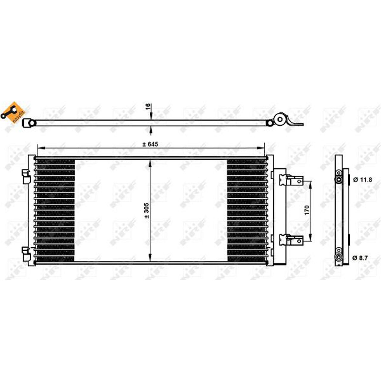 NRF 350338 EASY FIT Kondensator OPEL Astra K / Sports Tourer B16 1.0-1.6 1.6 CDTi 13475956