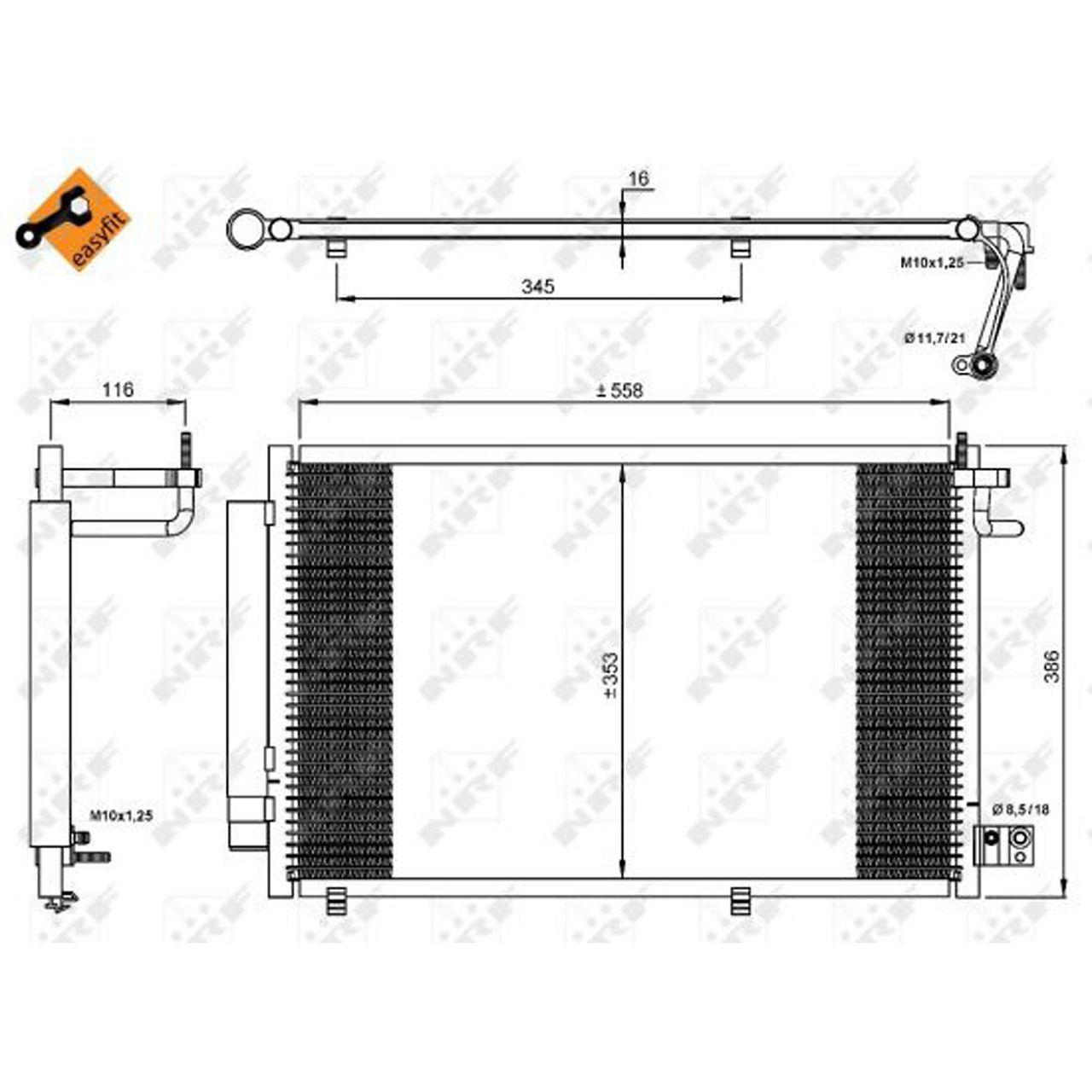 NRF 35903 EASY FIT Kondensator Klimaanlage FORD Fiesta 6 MK6 1.25-1.6 1.4 TDCi 1513108