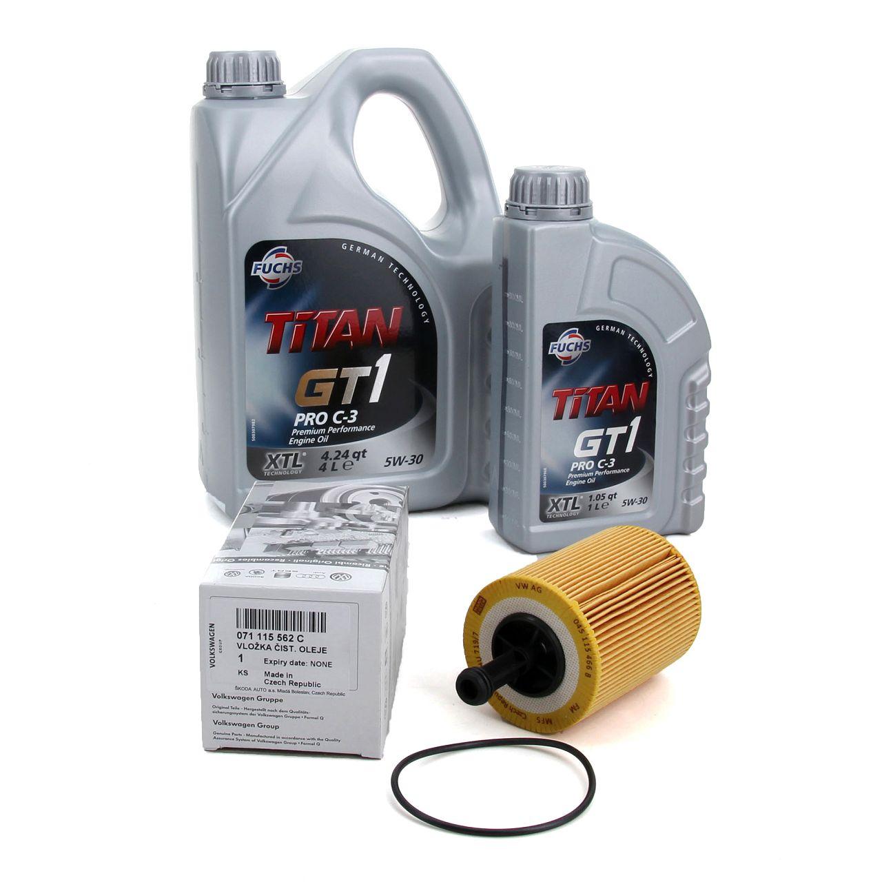 FUCHS Motoröl TITAN GT1 Pro C-3 5W-30 5 Liter 5L + ORIGINAL Ölfilter 071115562C