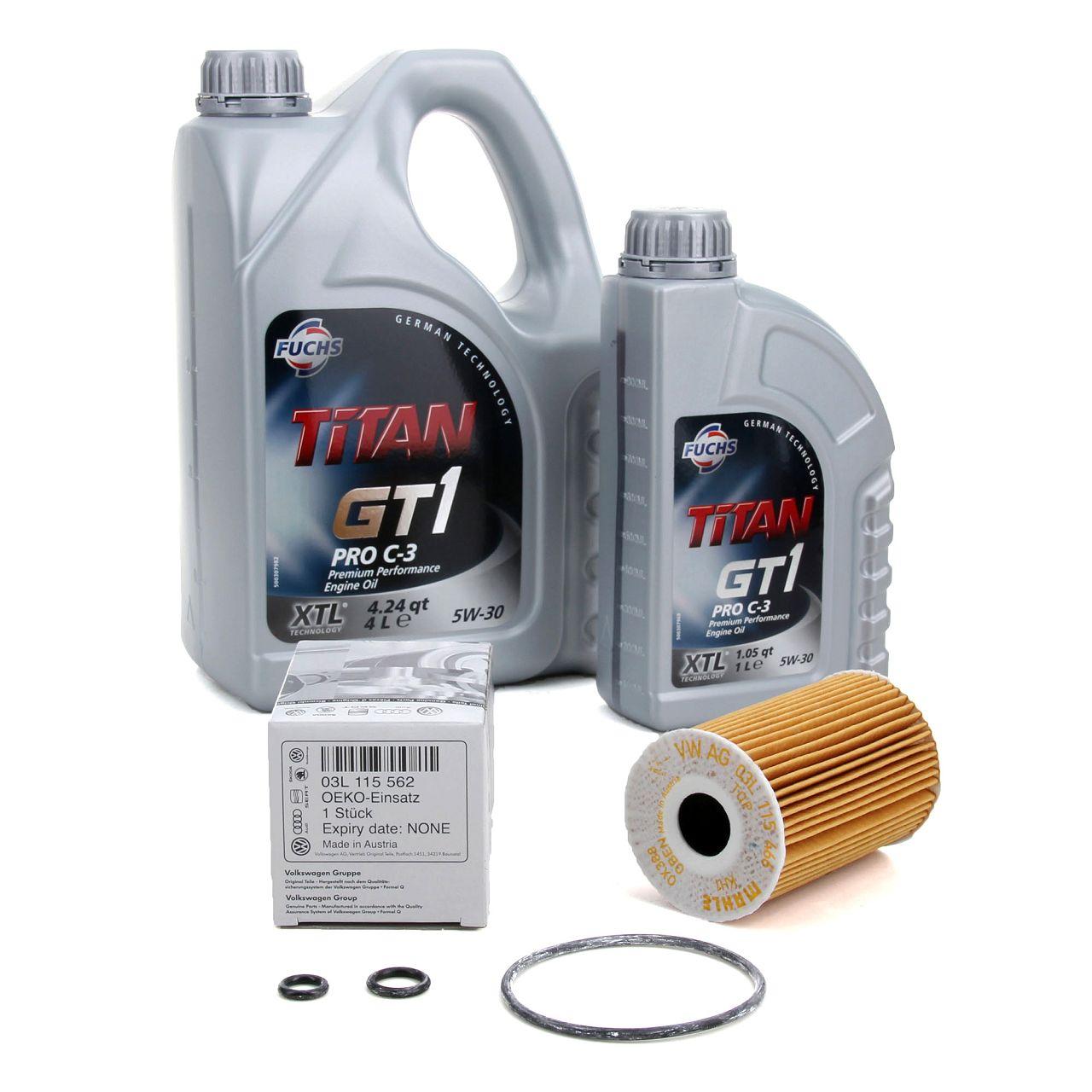 FUCHS Motoröl TITAN GT1 Pro C-3 5W-30 5 Liter 5L+ ORIGINAL VW Ölfilter 03L115562