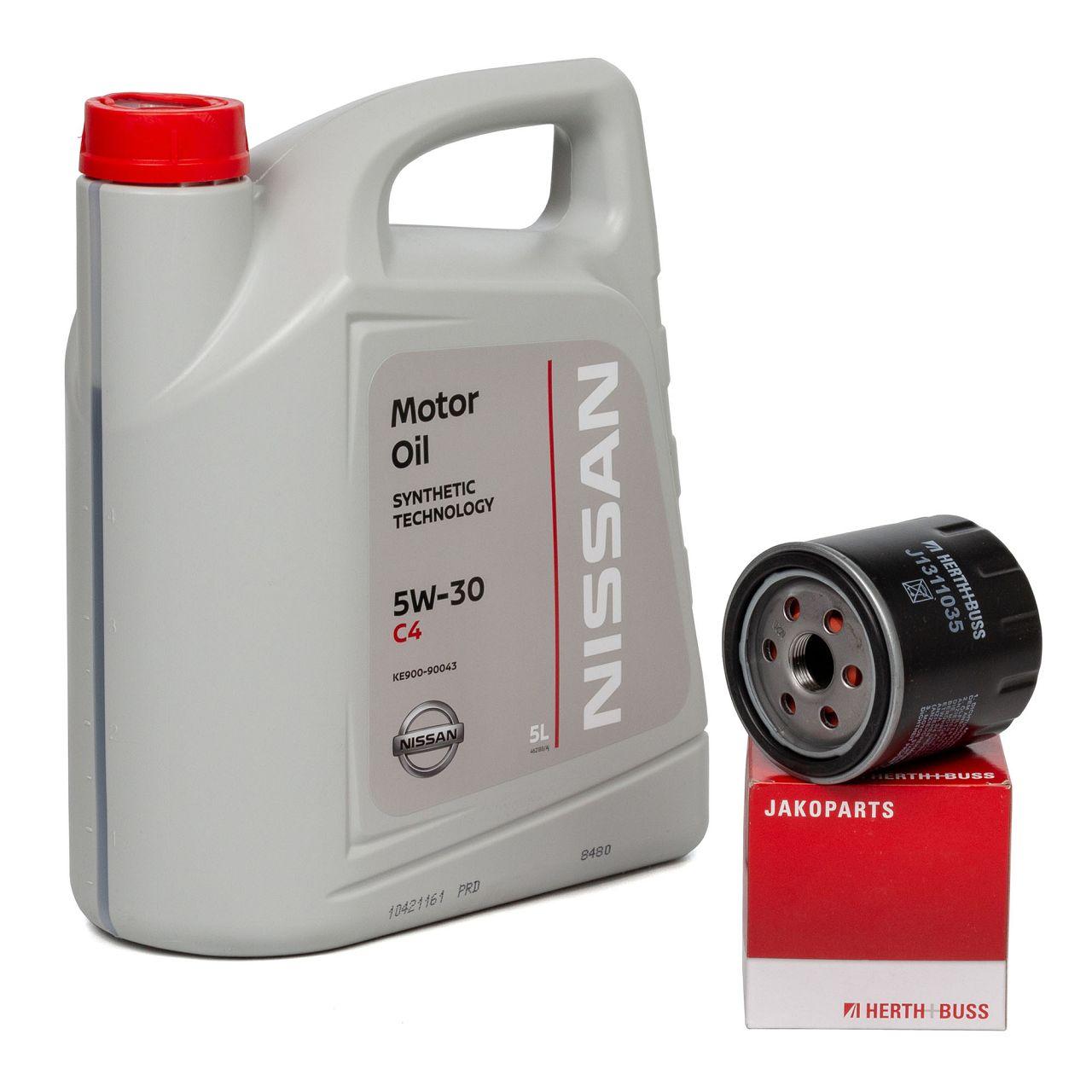 Original NISSAN Motoröl 5W30 DPF ACEA C4 DIESEL 5L+HERTH+BUSS Ölfilter J1311035
