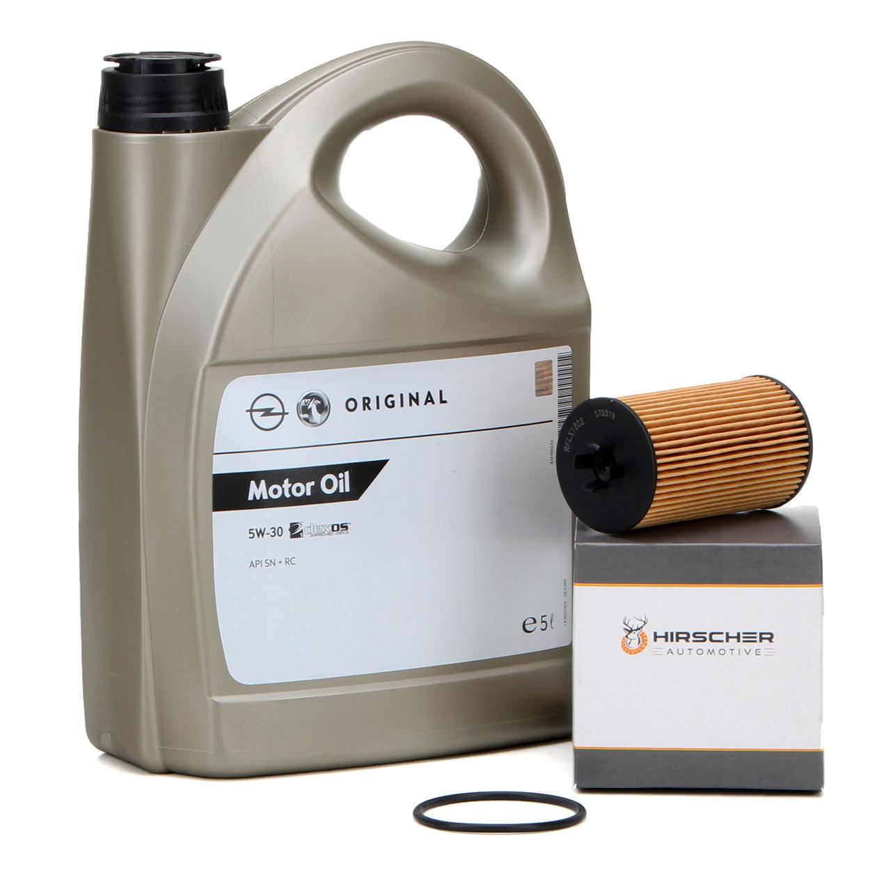 ORIGINAL GM Opel Öl 5W30 DEXOS1 Gen2 5L 95527874 + HIRSCHER Ölfilter 95526685