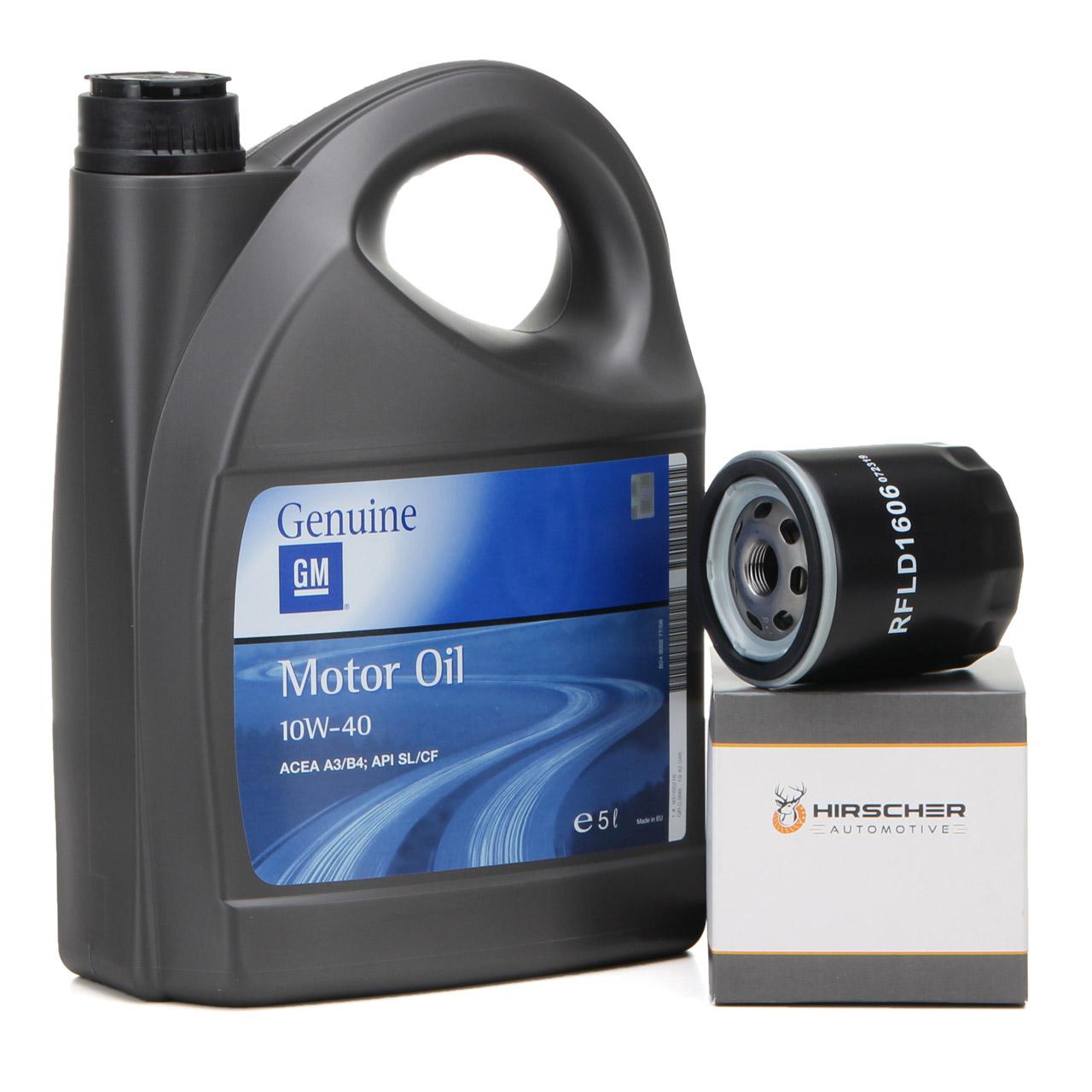 ORIGINAL GM Opel Öl 10W40 A3/B4 SL/CF 5L 93165216 + HIRSCHER Ölfilter 95509857