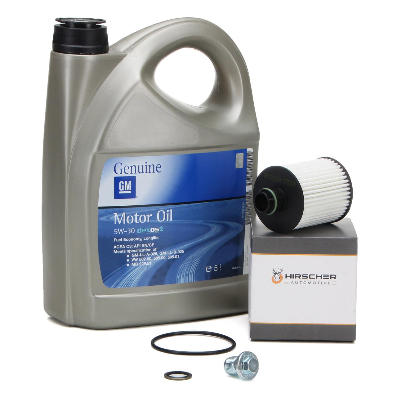 ORIGINAL GM Opel Öl 5W30 dexos2 5L 5 Liter 1942003 + HIRSCHER Ölfilter 2.0 CDTI