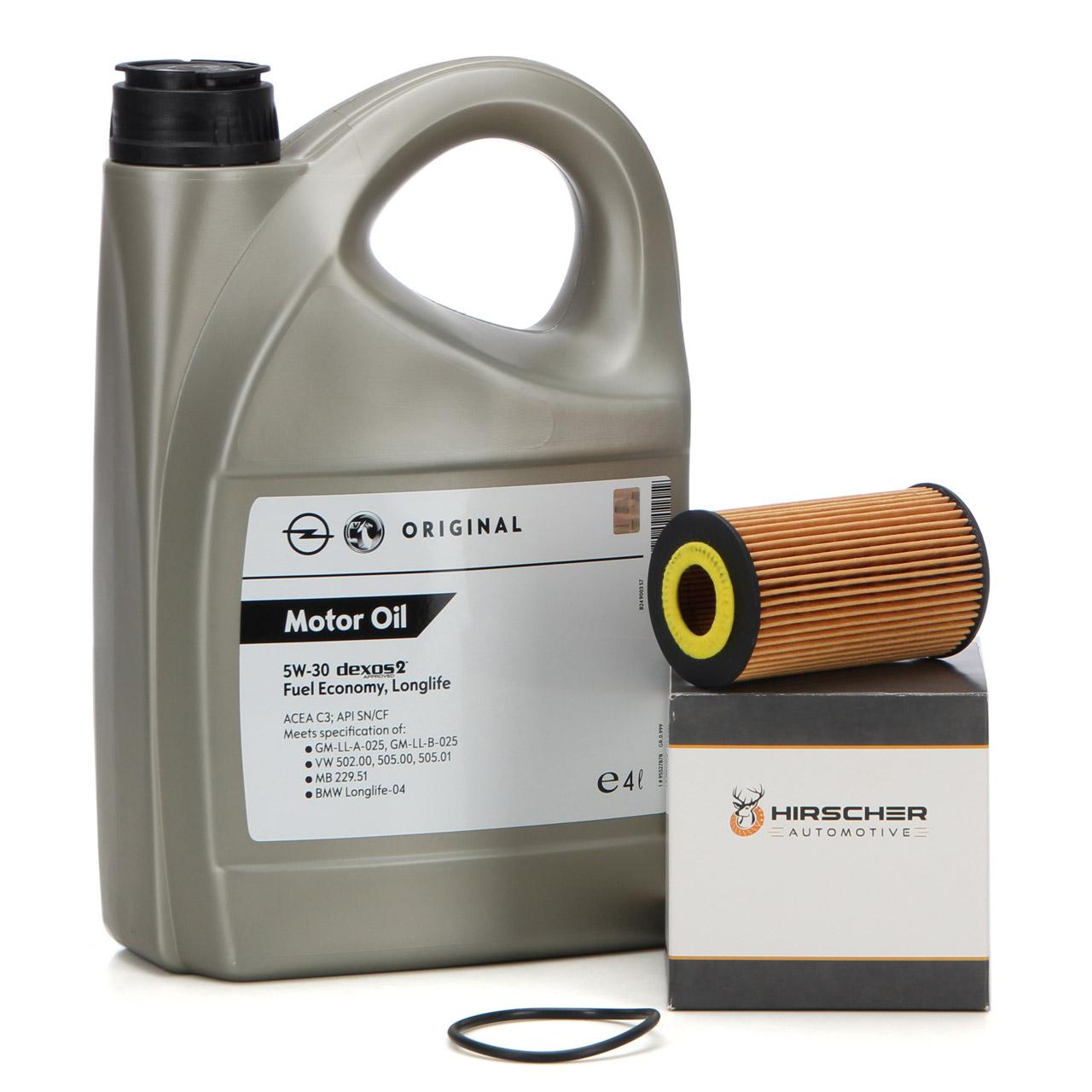 ORIGINAL GM Opel Öl 5W30 dexos2 4 Liter 95527878 + HIRSCHER Ölfilter 1.0-1.8