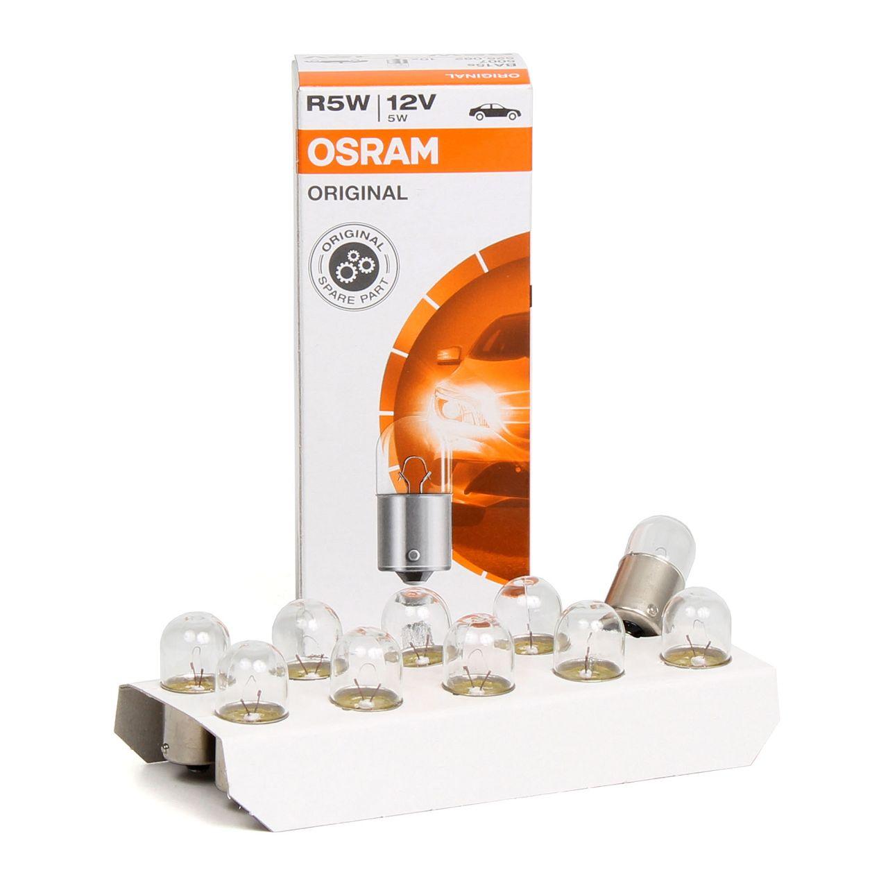 10x OSRAM 5007 Glühlampe Sockelglühlampe R5W ORIGINAL-Line 12V 5W BA15s