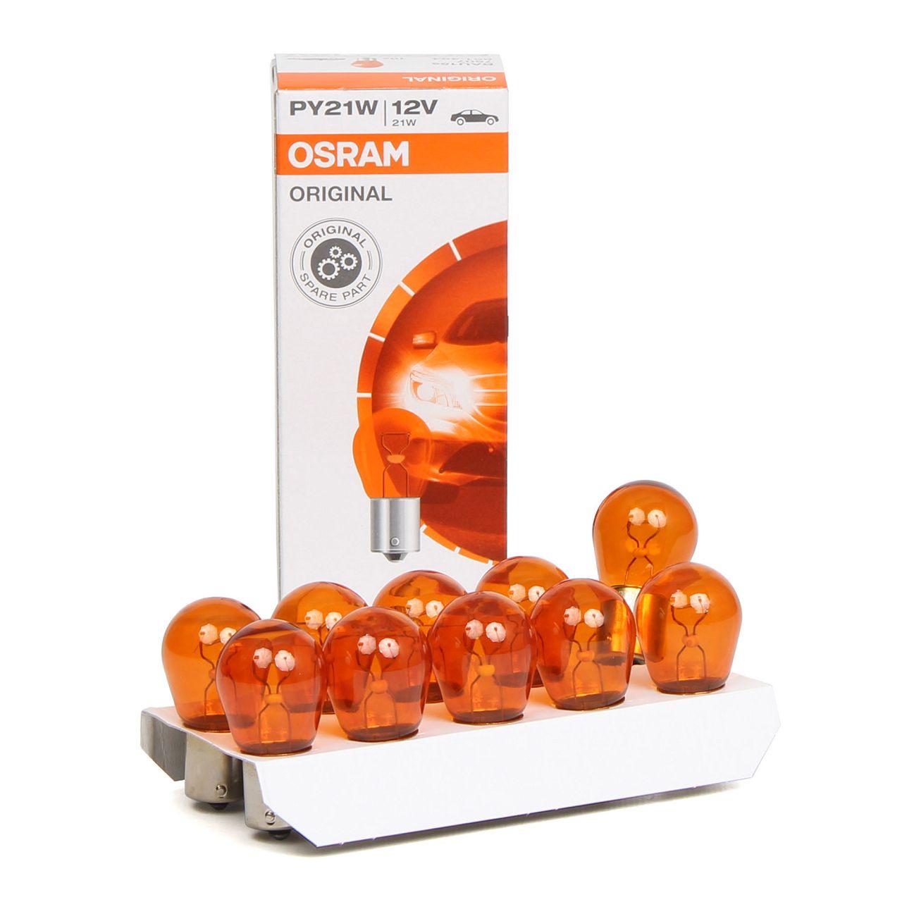 10x OSRAM 7507 Glühlampe Sockelglühlampe PY21W ORIGINAL-Line 12V 21W BAU15s
