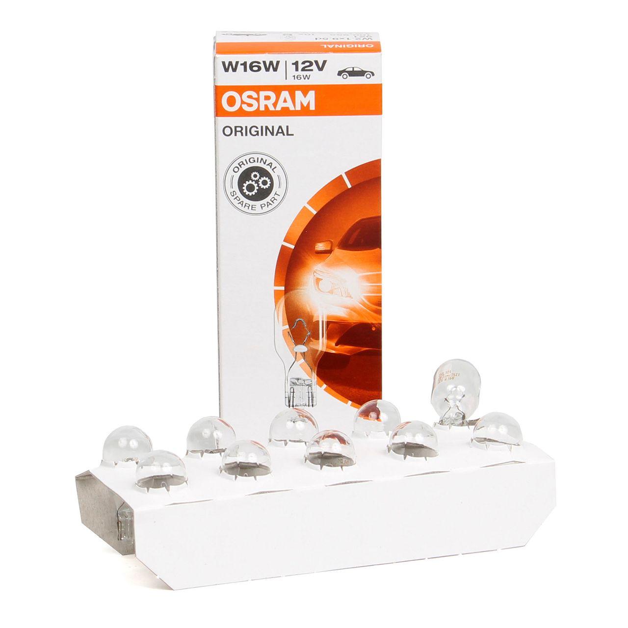 10x OSRAM 921 Glühlampe Sockelglühlampe W16W ORIGINAL-Line 12V 16W W2,1x9,5d