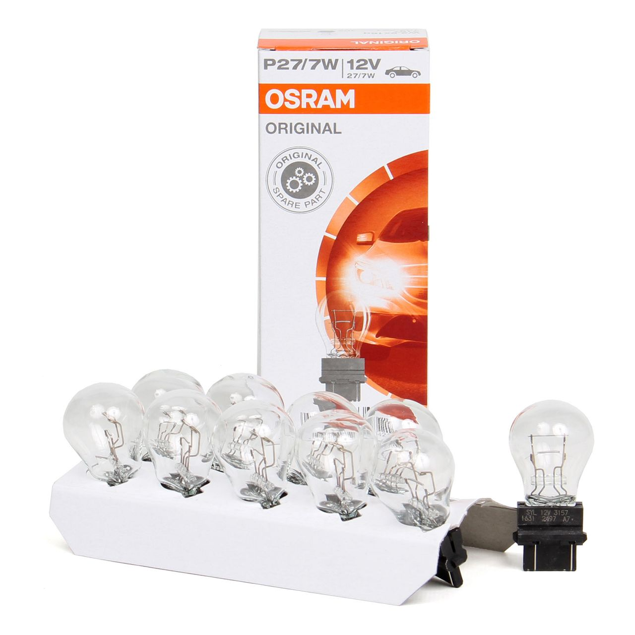 10x OSRAM Glühlampe Sockelglühlampe ORIGINAL-Line P27/7W 12V 27/7W W2,5x16q