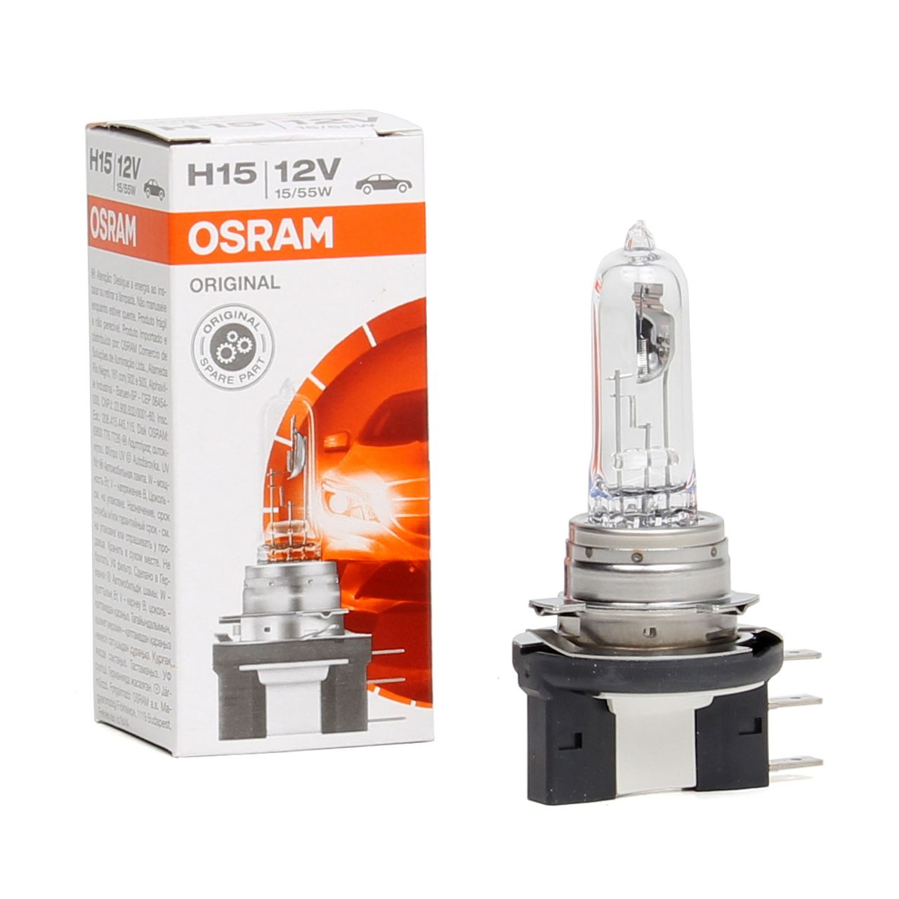 OSRAM Halogenlampe H15 ORIGINAL LINE 12V 55/15W PGJ23T-1 64176