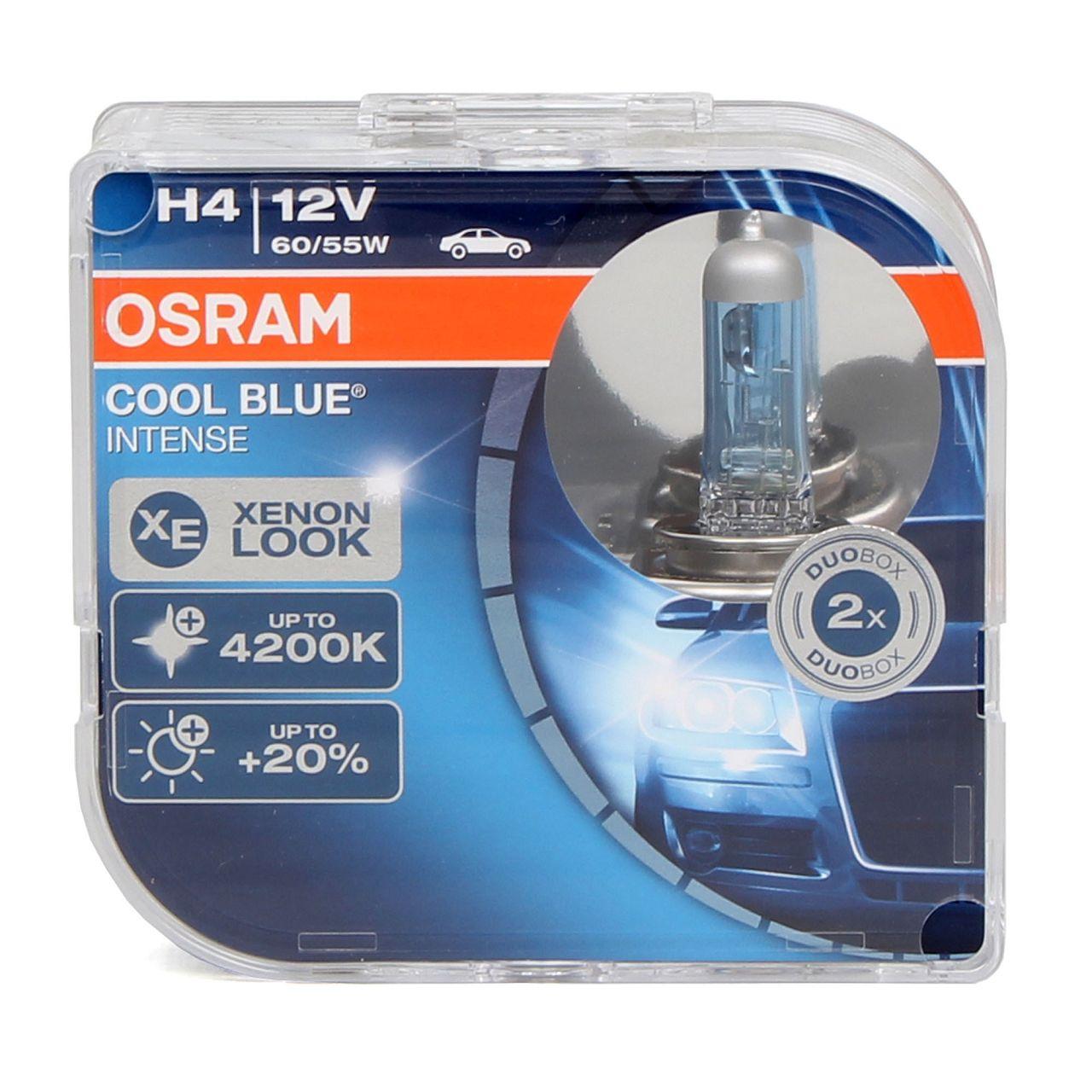 2x OSRAM Halogenlampe H4 COOL BLUE INTENSE CBI 12V 60 / 55W P43t 64193CBI-HCB