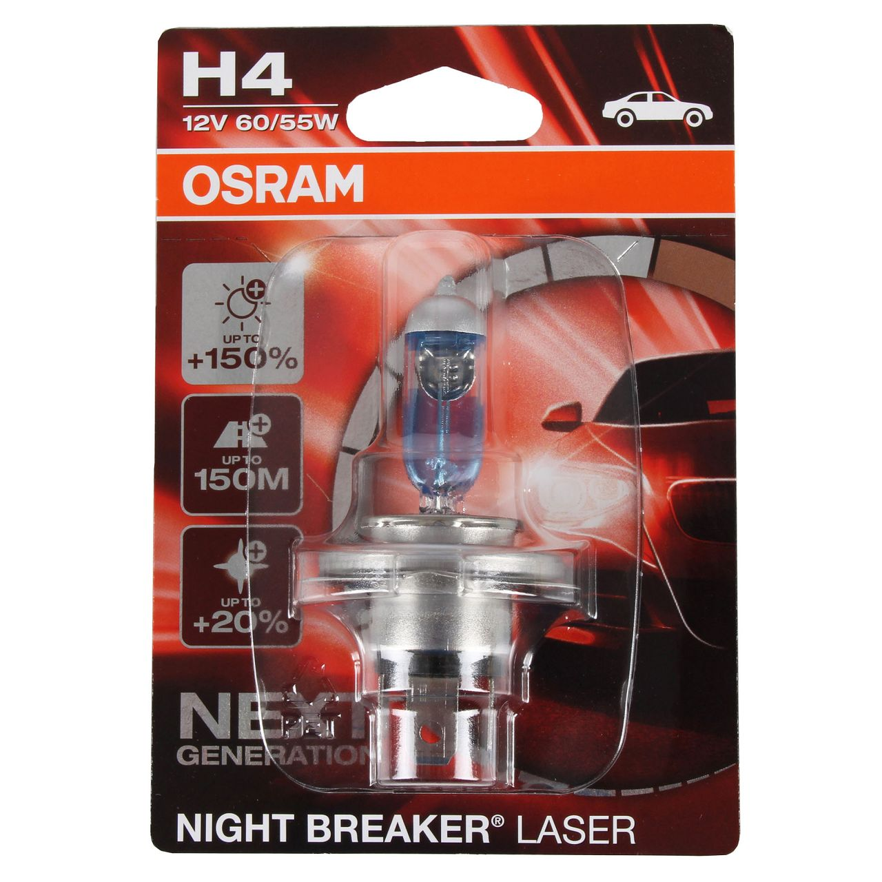 OSRAM Glühlampe H4 NIGHT BREAKER LASER 12V 60/55W P43t next Generation +150%