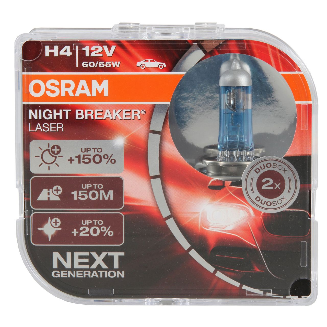 2x OSRAM Glühlampe H4 NIGHT BREAKER LASER 12V 60/55W P43t next Generation +150%