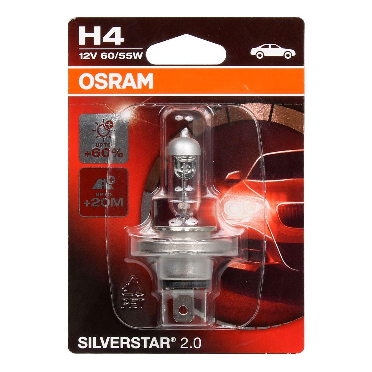 OSRAM Halogenlampe H4 SILVERSTAR 2.0 12V 60/55W P43t 64193SV2-01B