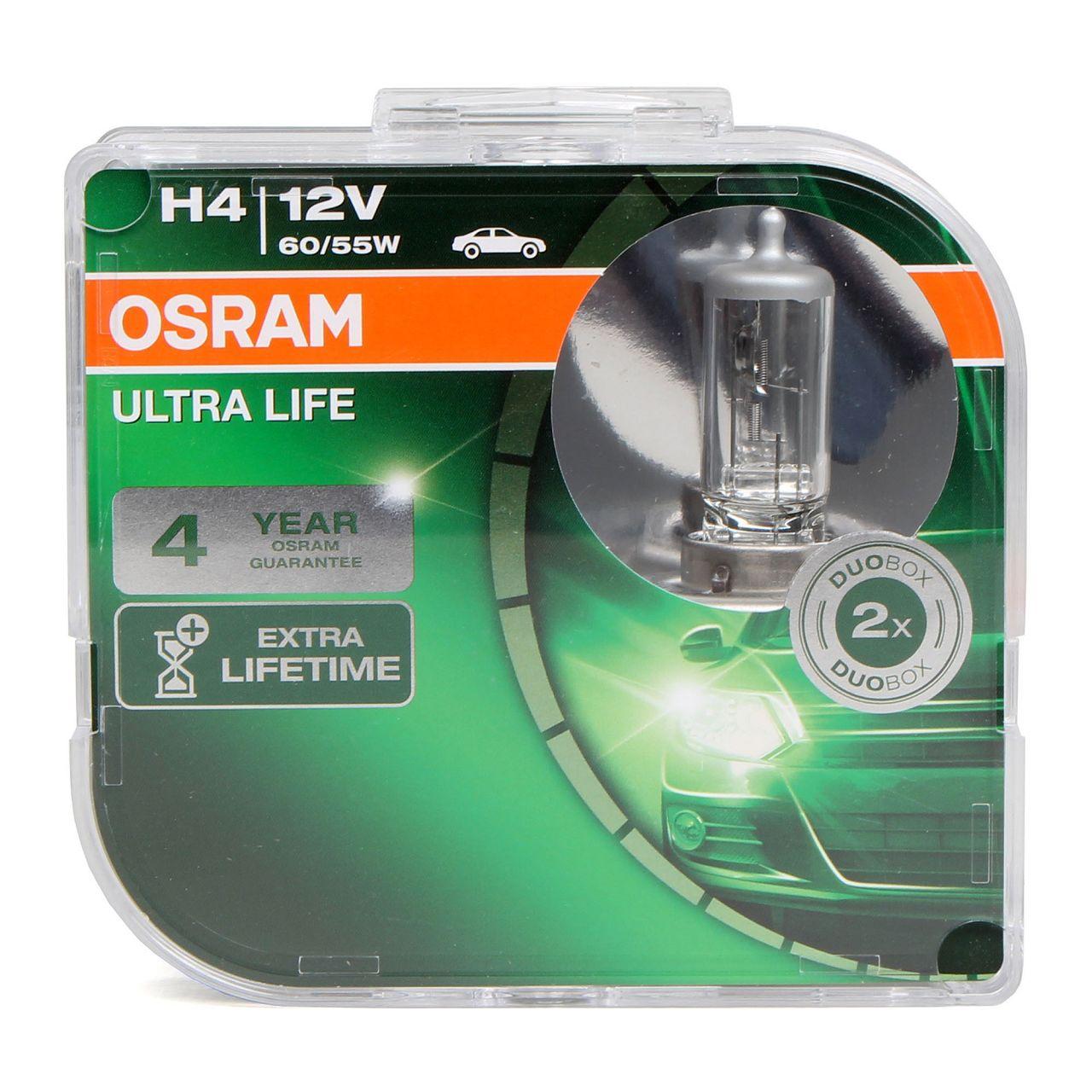2x OSRAM Halogenlampe Glühlampen H4 ULTRA LIFE 12V 60 / 55W P43t 64193ULT-HCB