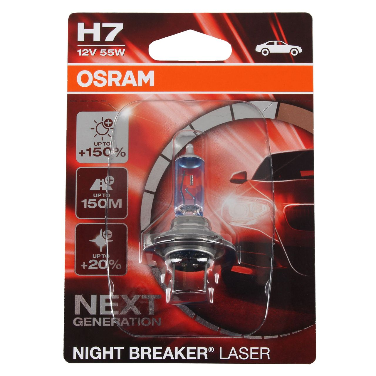 OSRAM Glühlampe H7 NIGHT BREAKER LASER 12V 55W PX26d next Generation +150%