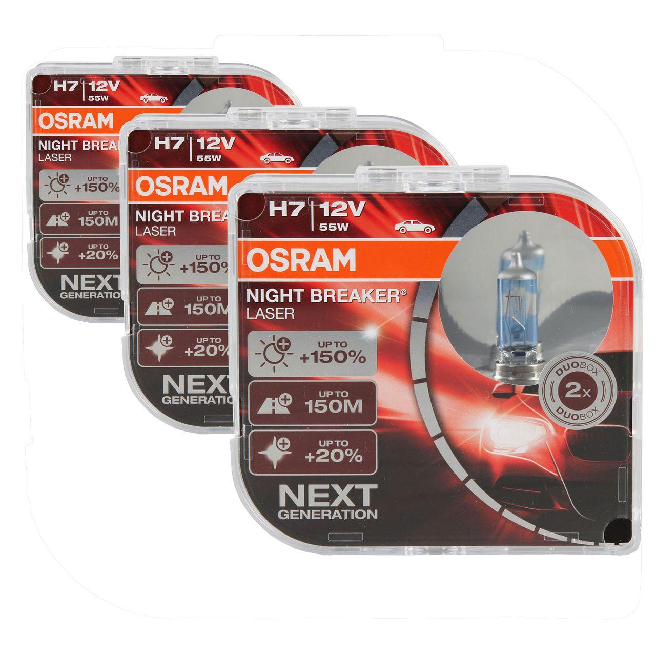 6x OSRAM Glühlampe H7 NIGHT BREAKER LASER 12V 55W PX26d next Generation +150%