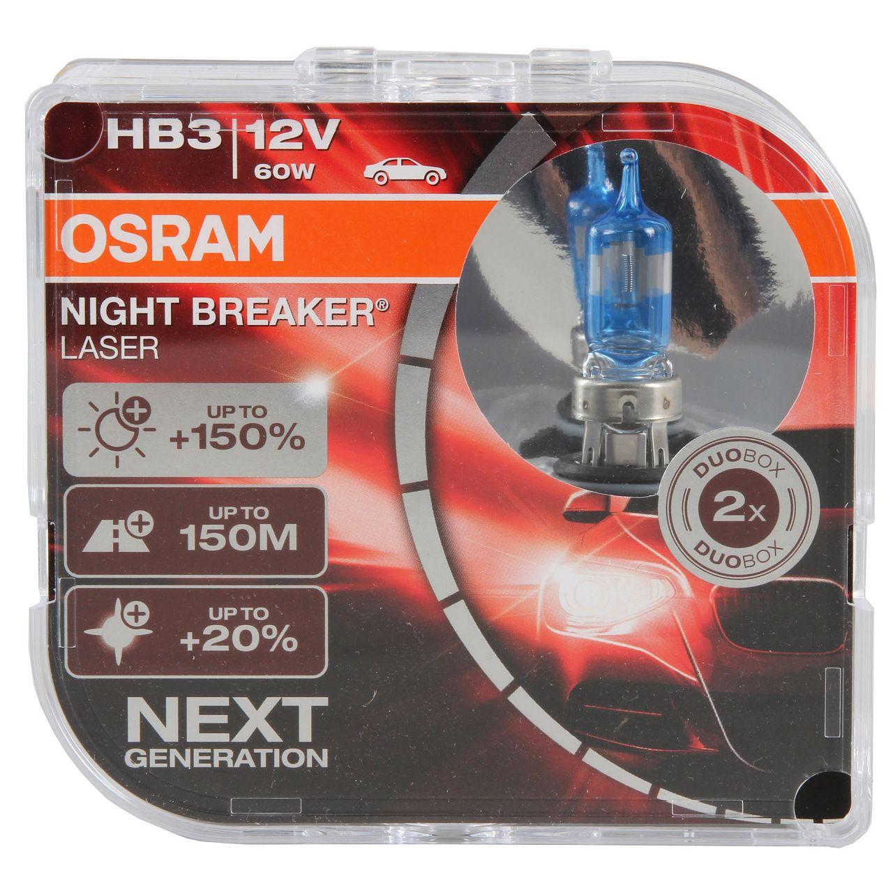 2x OSRAM Glühlampe HB3 NIGHT BREAKER LASER 12V 60W P20d next Generation +150%