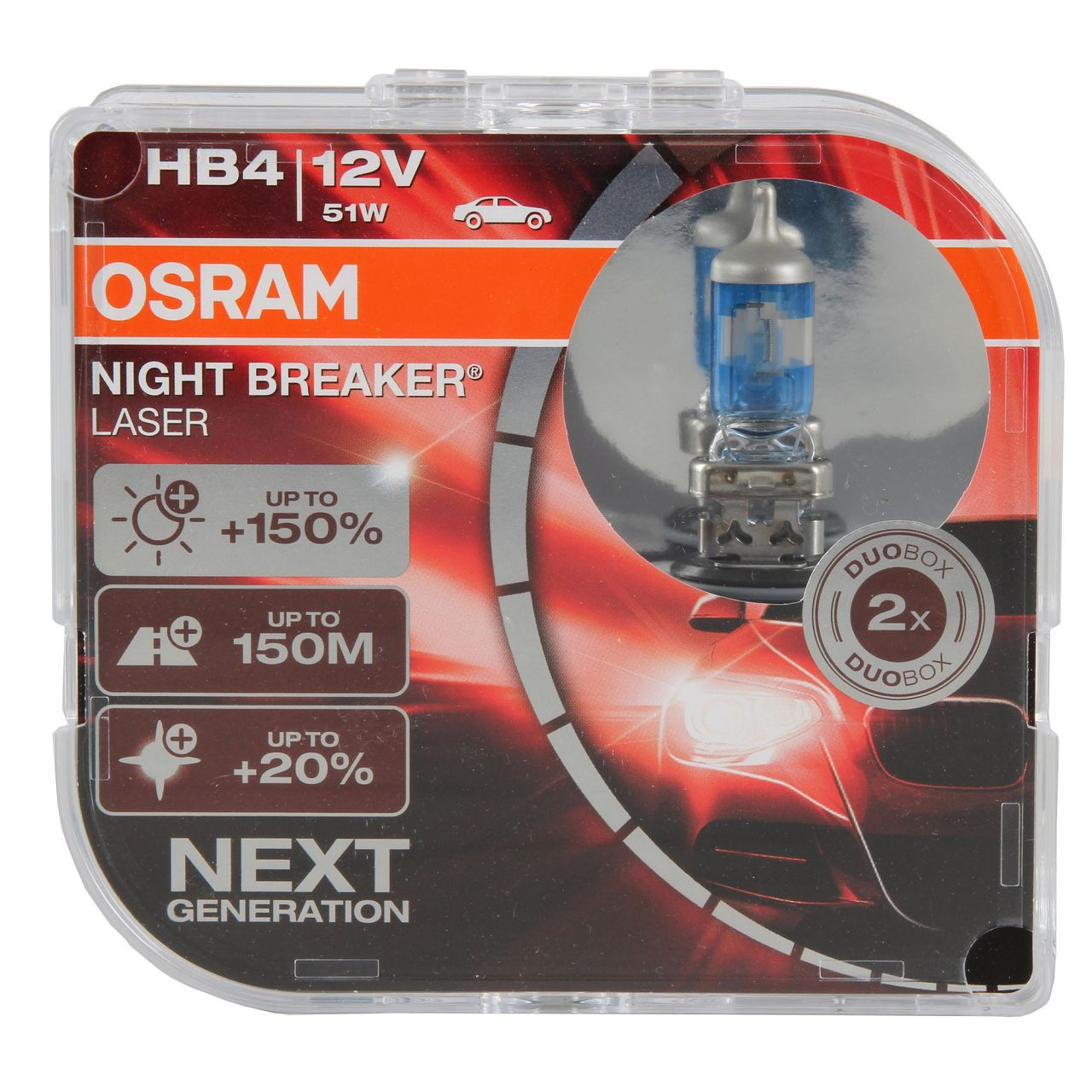 2x OSRAM Glühlampe HB4 NIGHT BREAKER LASER 12V 51W P22d next Generation +150%