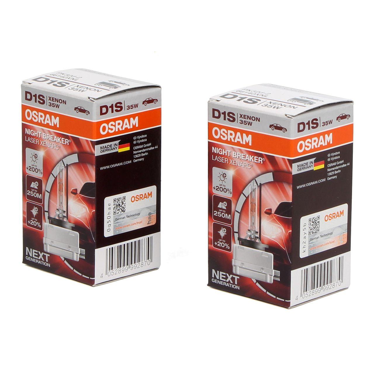 2x OSRAM Glühlampe D1S NIGHT BREAKER LASER 85V 35W PK32d-2 next Generation +200%