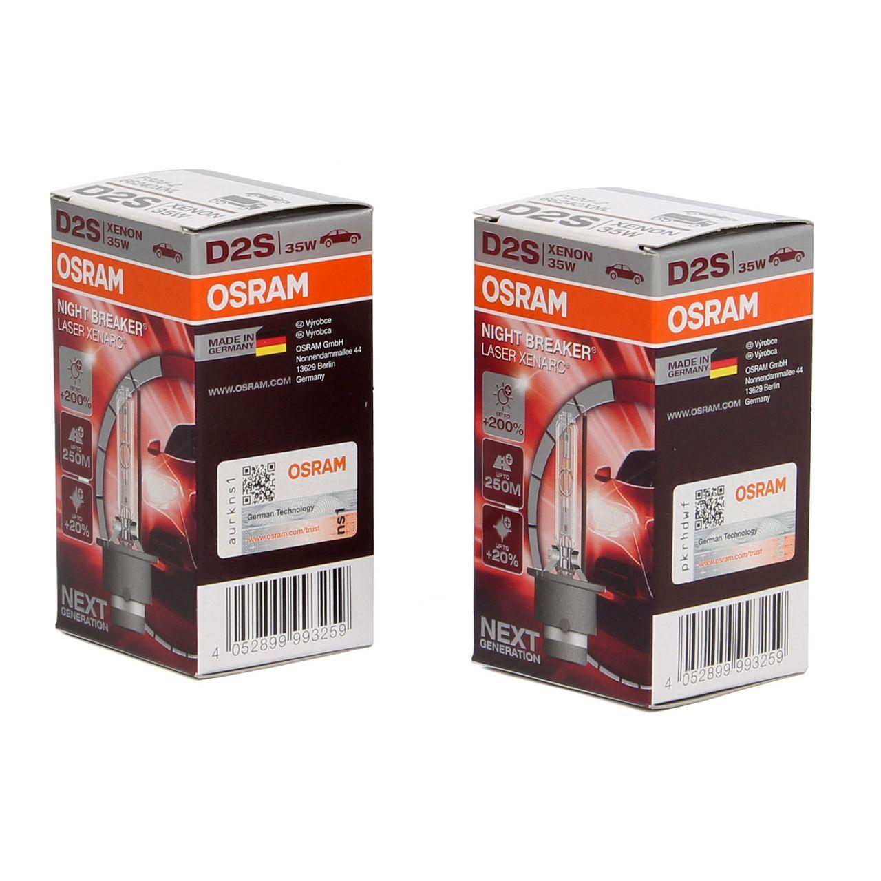 2x OSRAM Glühlampe D2S NIGHT BREAKER LASER 85V 35W P32d-2 next Generation +200%