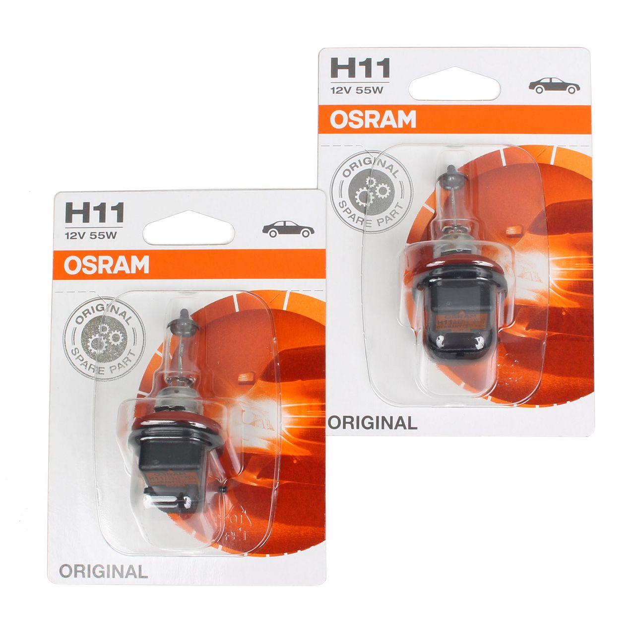 2x OSRAM Halogenlampe H11 ORIGINAL LINE 12V 55W PGJ19-2 64211-01B